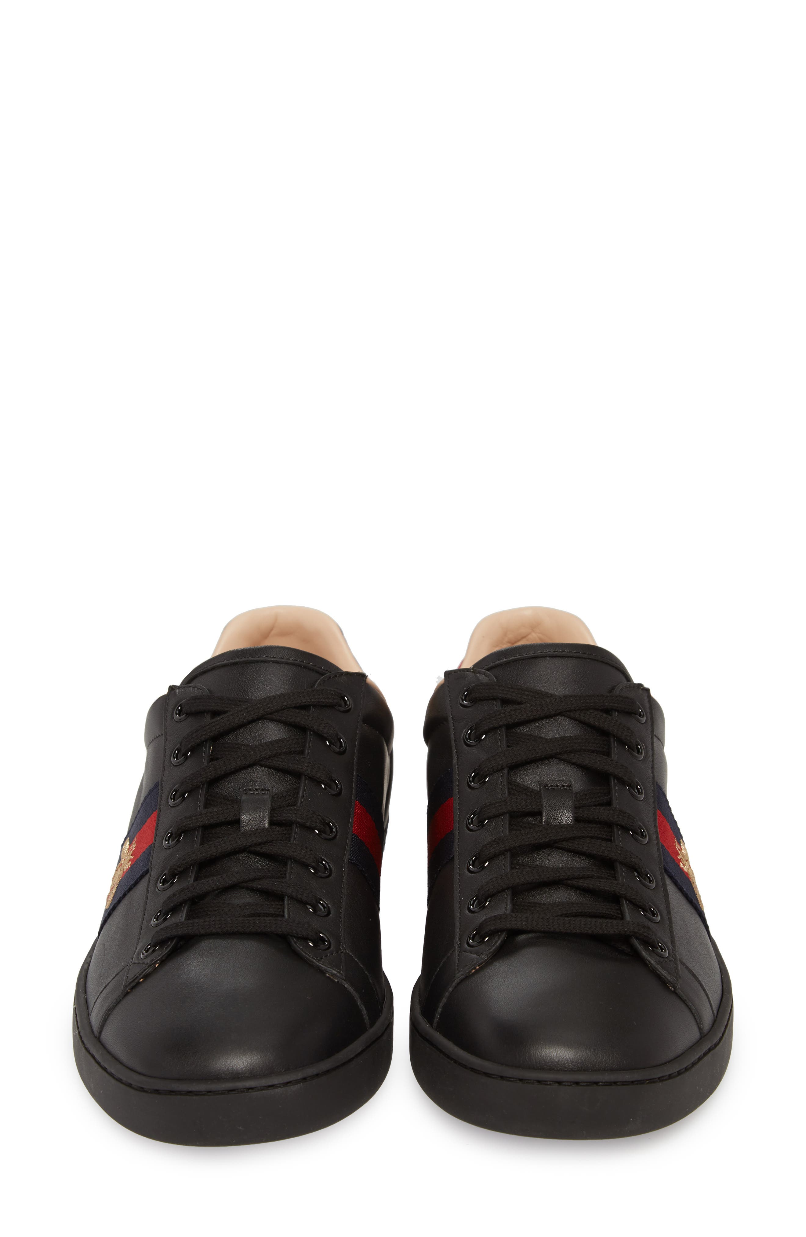 New Ace Sneaker,                             Alternate thumbnail 4, color,                             BLACK LEATHER