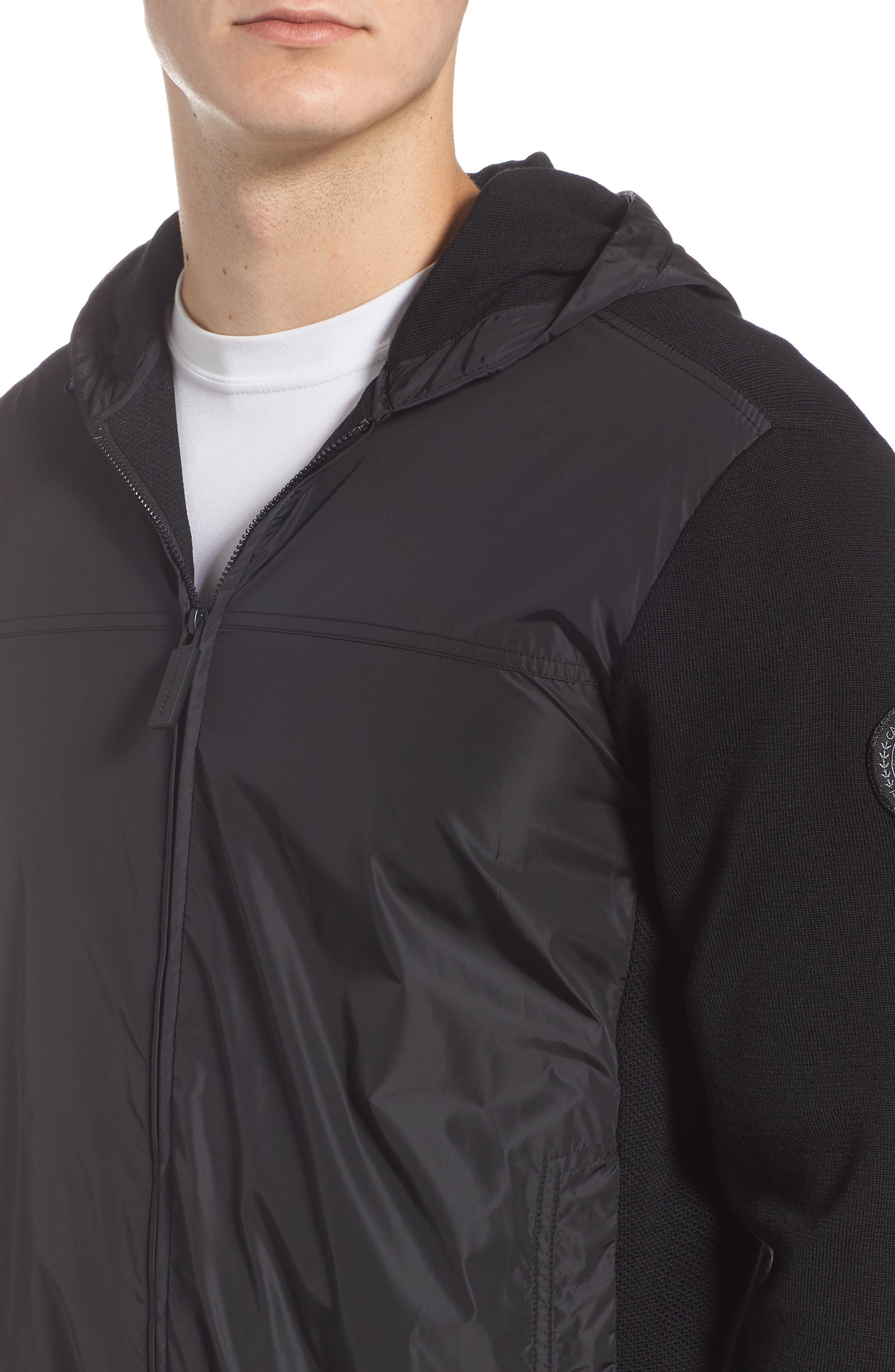 Windbridge Regular Fit Hooded Sweater Jacket,                             Alternate thumbnail 4, color,                             BLACK