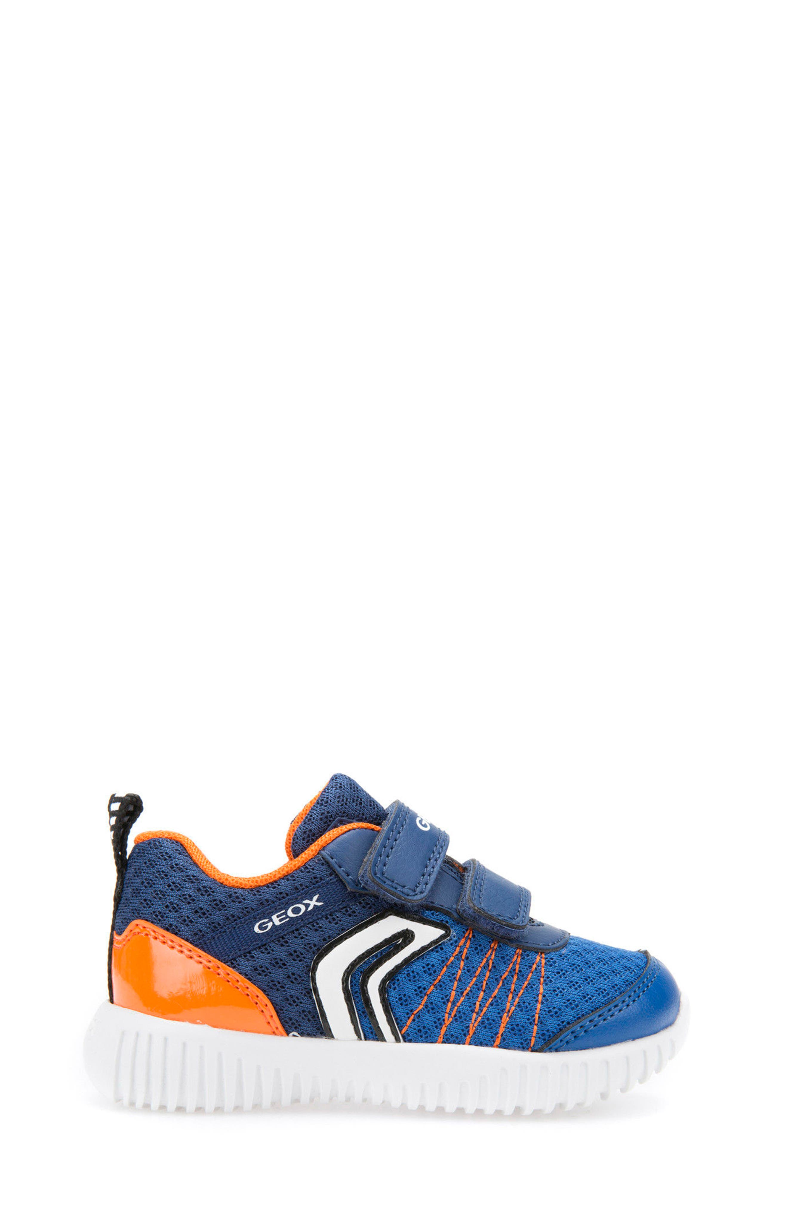 Waviness Waterproof Sneaker,                             Alternate thumbnail 3, color,                             NAVY/ ORANGE