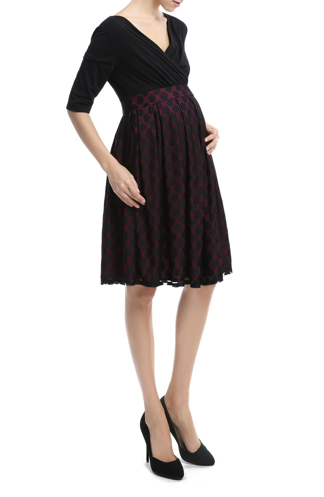 KIMI AND KAI,                             'Liliana' Polka Dot Lace Maternity Dress,                             Alternate thumbnail 3, color,                             003