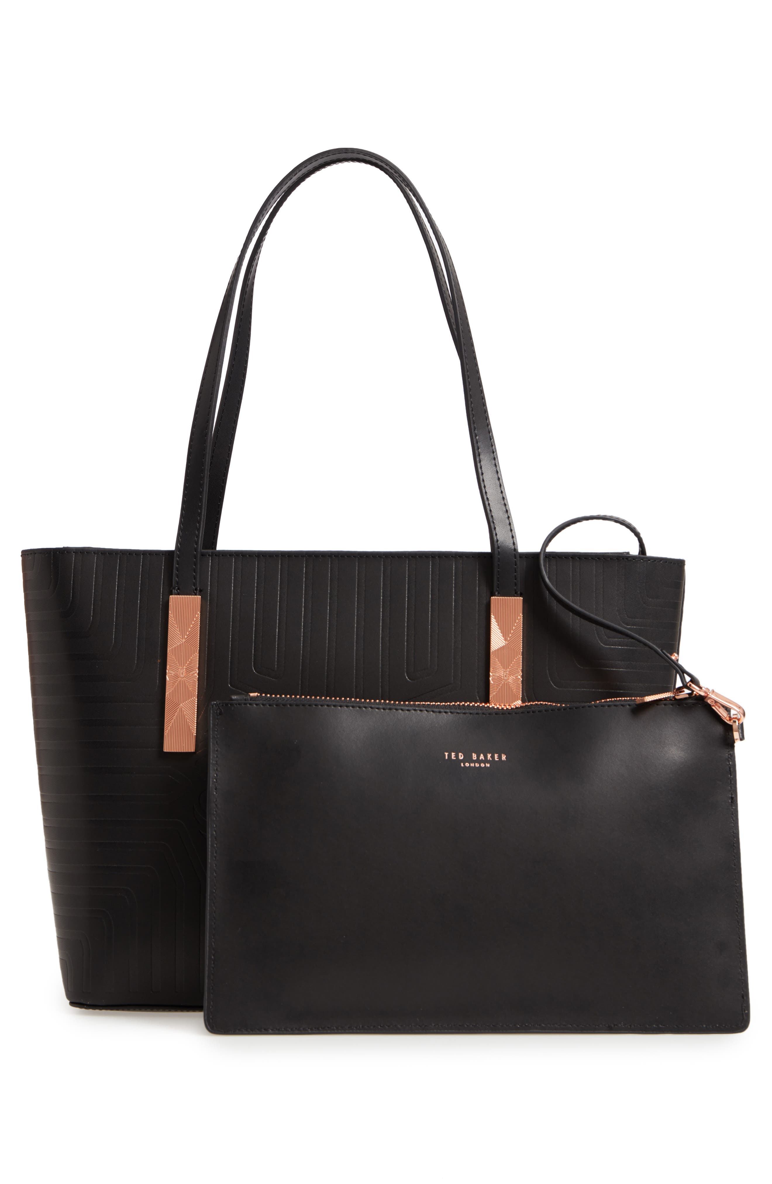 Bow Embossed Leather Shopper,                             Alternate thumbnail 3, color,                             BLACK