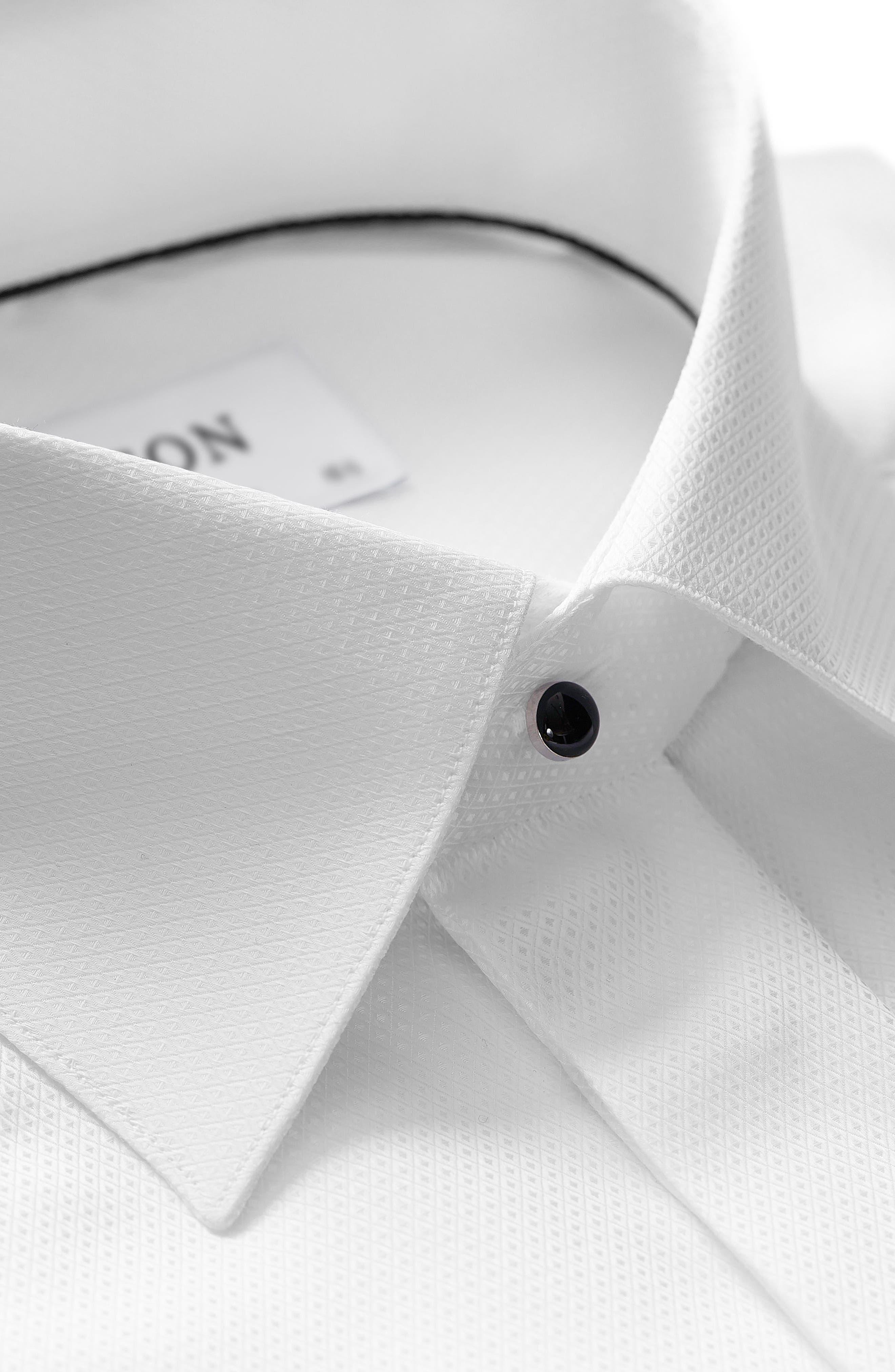 Contemporary Fit Diamond Weave Tuxedo Shirt,                             Alternate thumbnail 3, color,                             WHITE