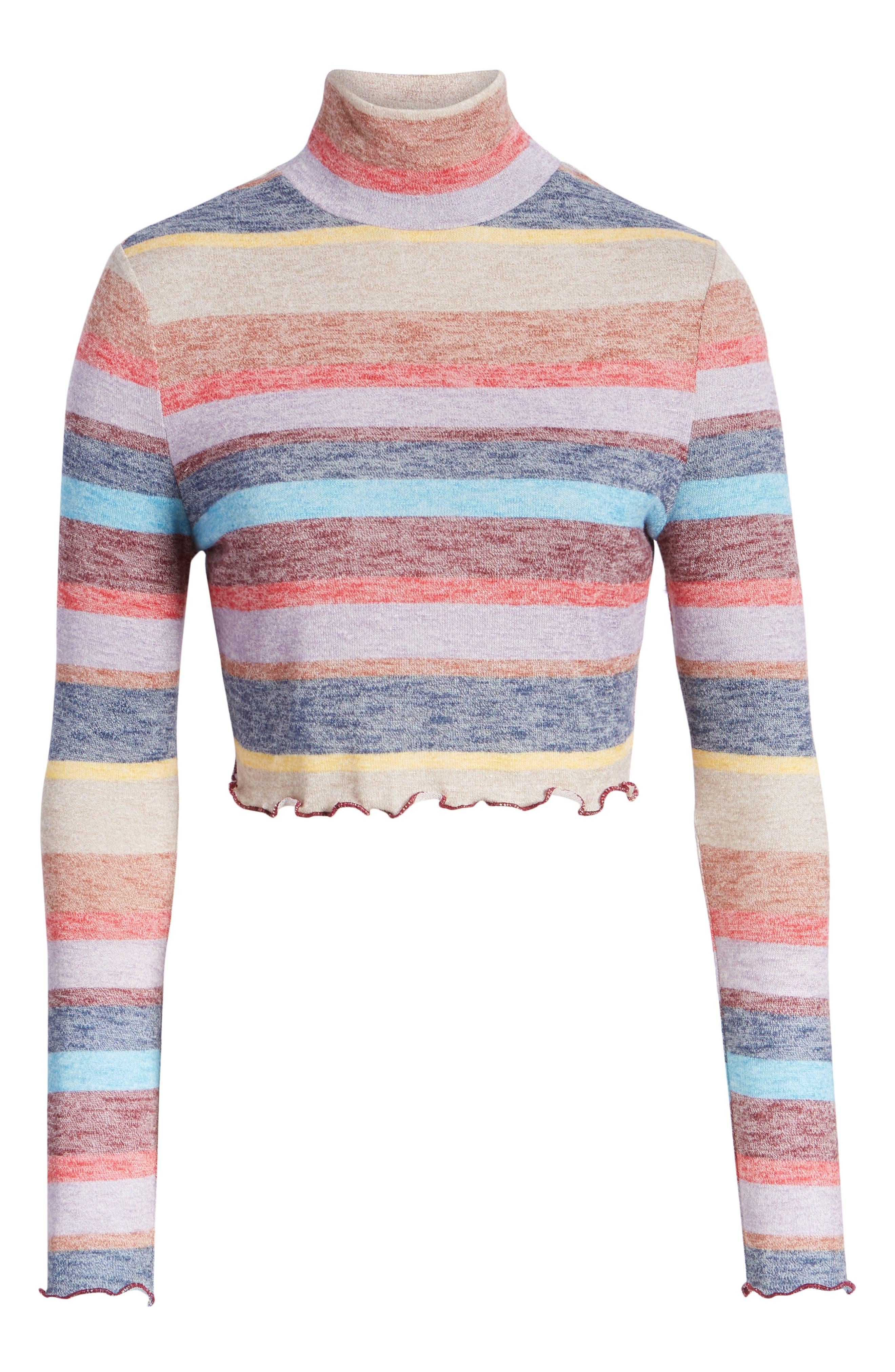 Stripe Mock Neck Top,                         Main,                         color, 930