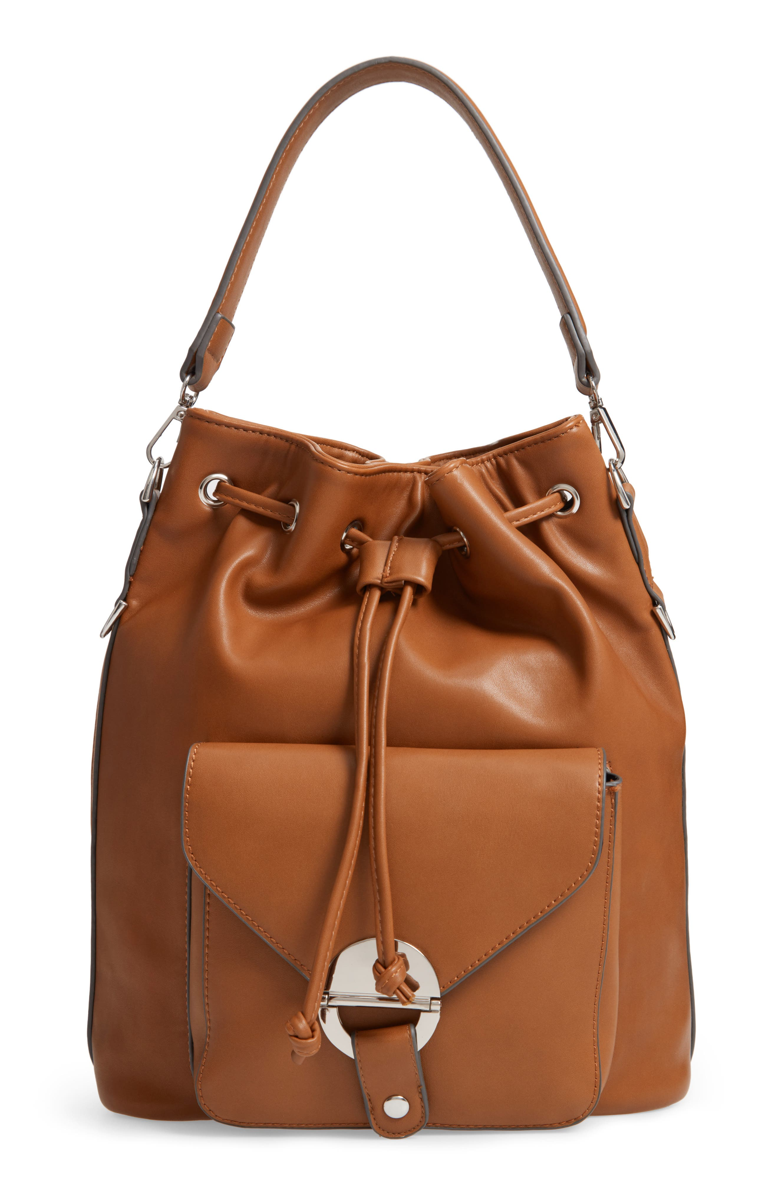 Faux Leather Bucket Bag,                             Main thumbnail 1, color,                             200