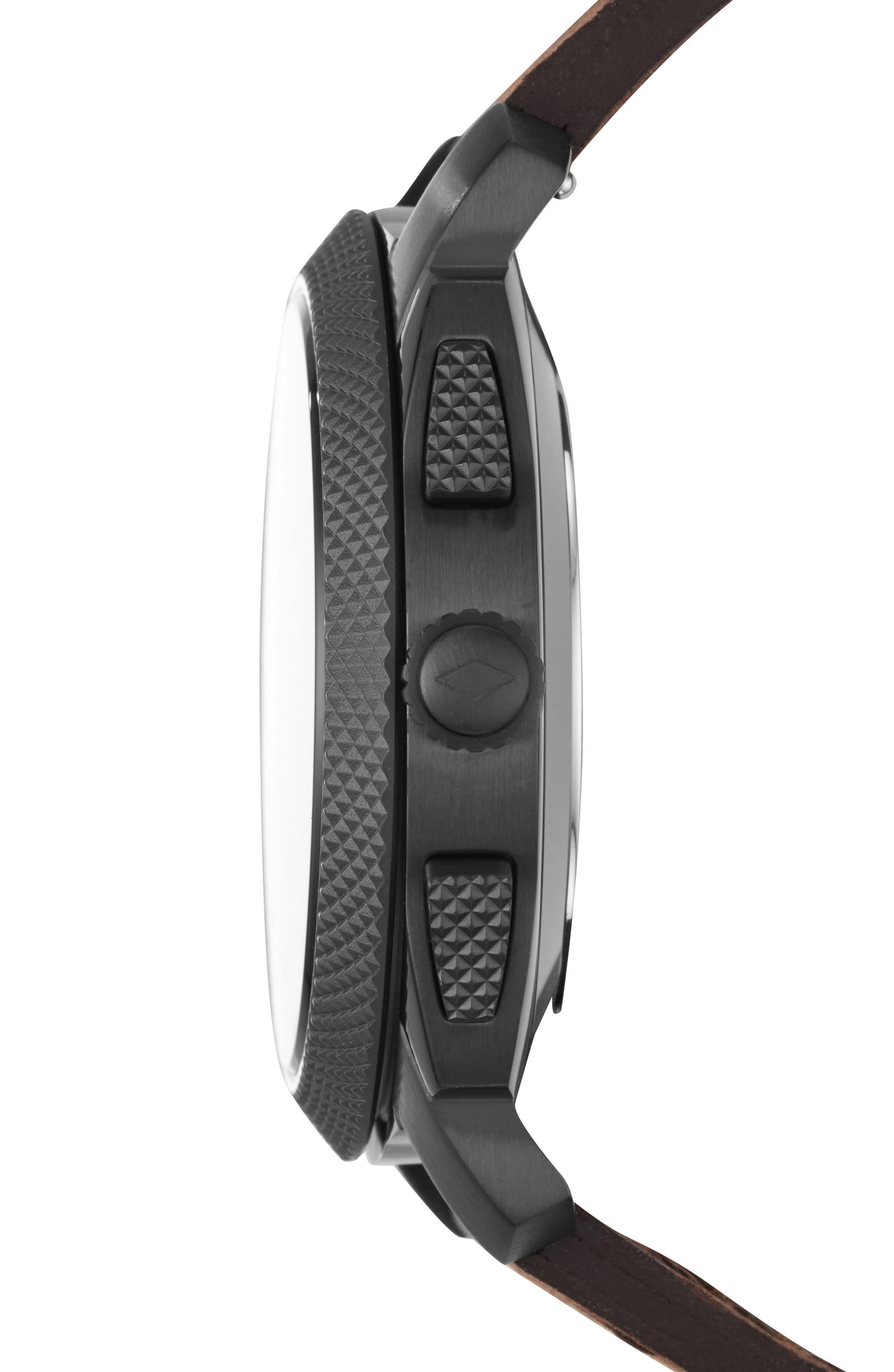 Machine Leather Strap Hybrid Smart Watch, 45mm,                             Alternate thumbnail 3, color,                             BROWN/ BLACK