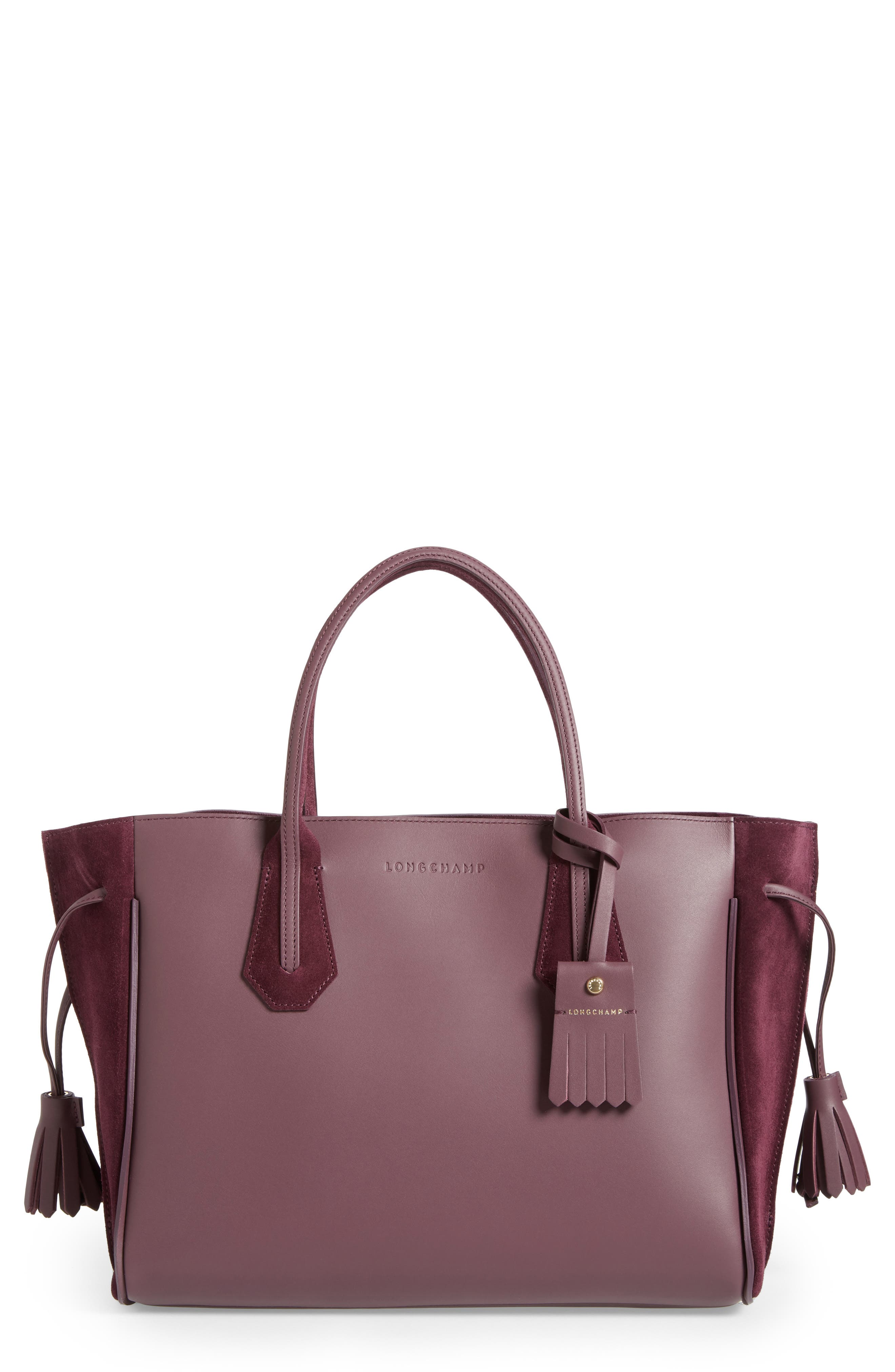 Penelope Leather & Suede Top Handle Tote,                         Main,                         color, 500