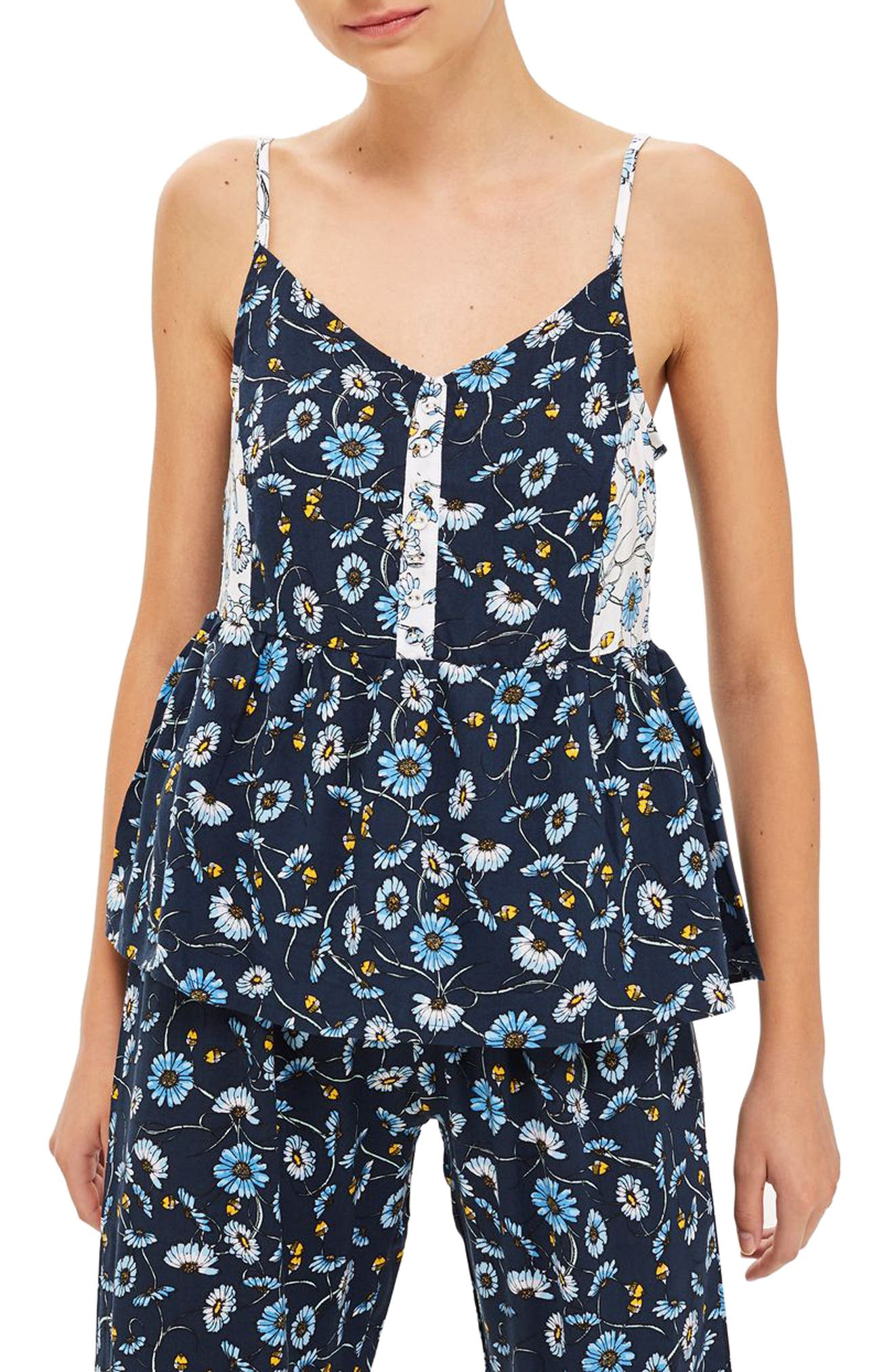 TOPSHOP,                             Floral Cami Sleep Top,                             Main thumbnail 1, color,                             411