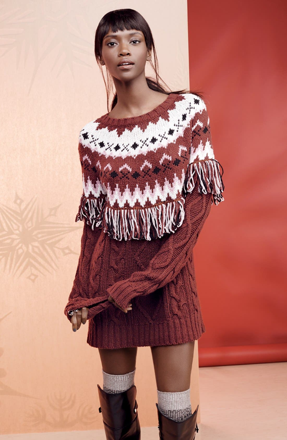 Fringe Tunic Sweater Dress,                             Alternate thumbnail 4, color,                             930