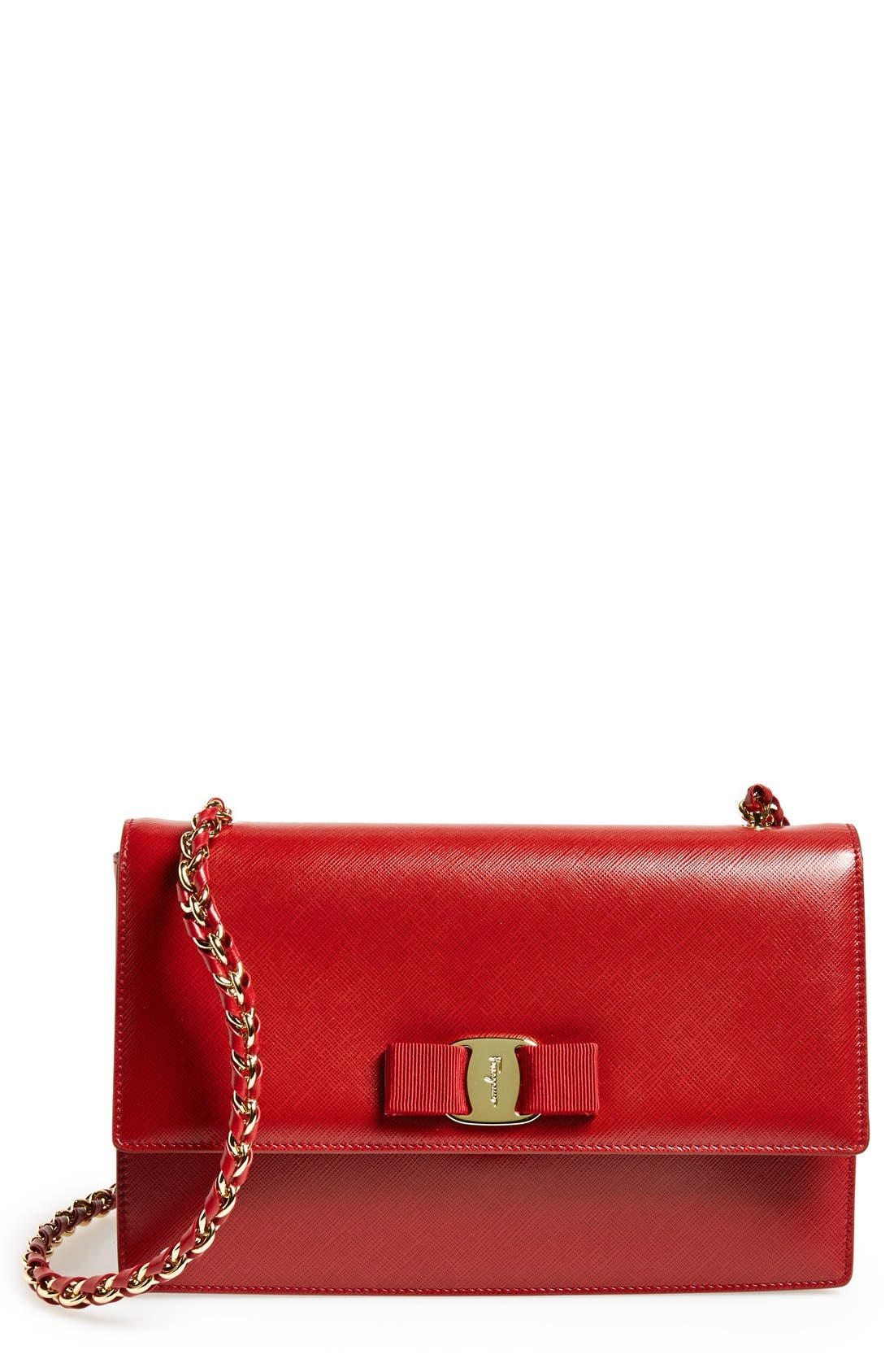 Saffiano Leather Shoulder Bag,                             Main thumbnail 4, color,