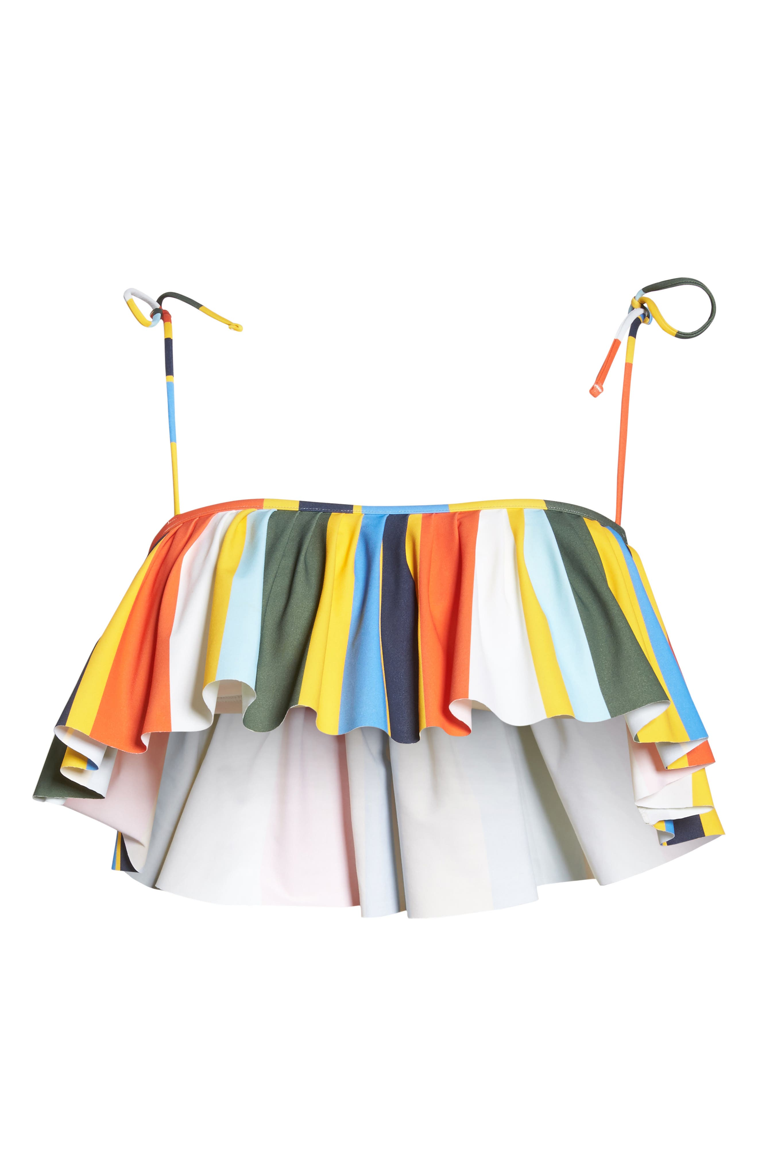 Balloon Stripe Flounce Bikini Top,                             Alternate thumbnail 6, color,                             886
