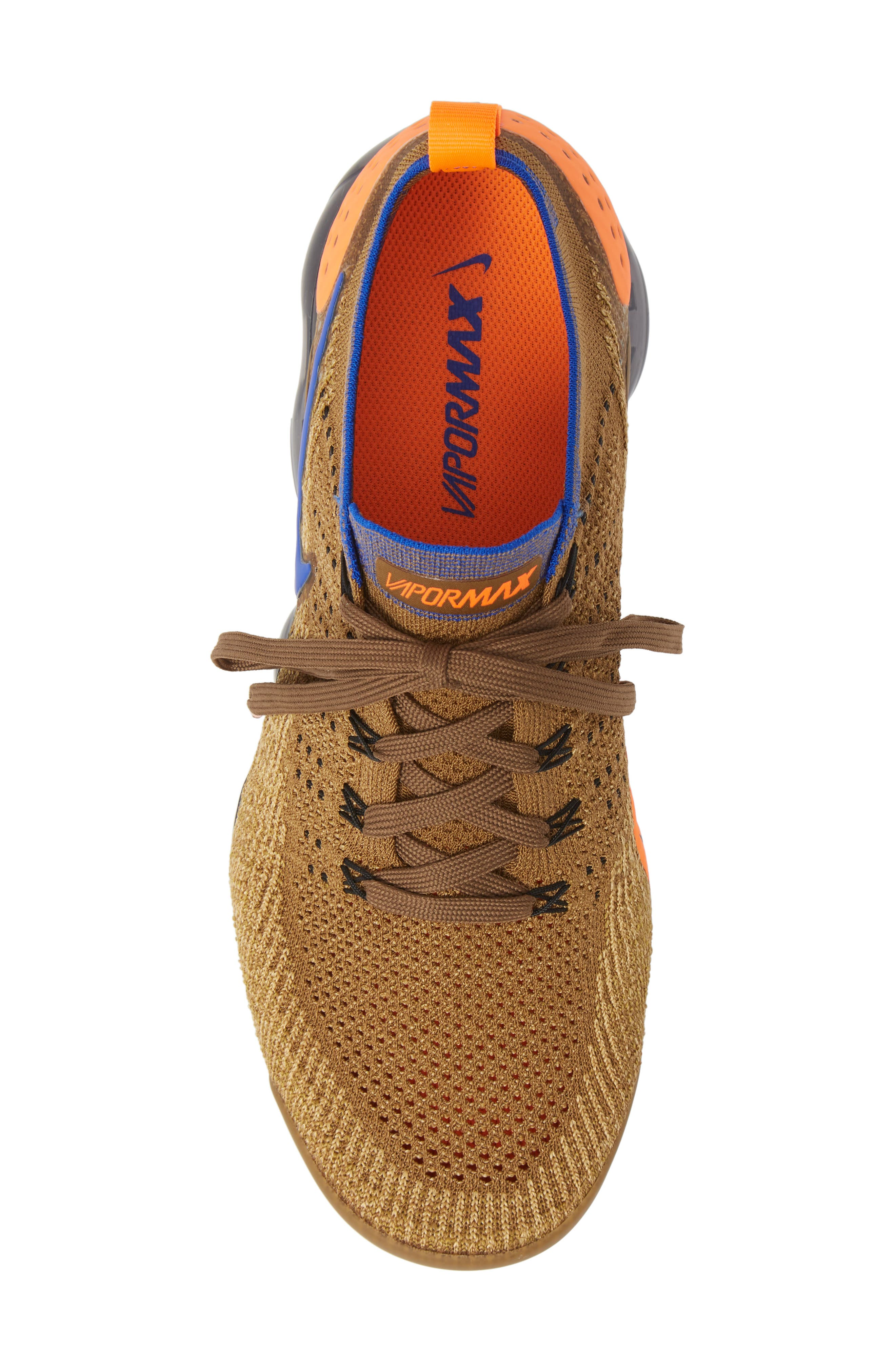 Air Vapormax Flyknit 2 Running Shoe,                             Alternate thumbnail 5, color,                             GOLDEN BEIGE/ RACER BLUE/ GOLD