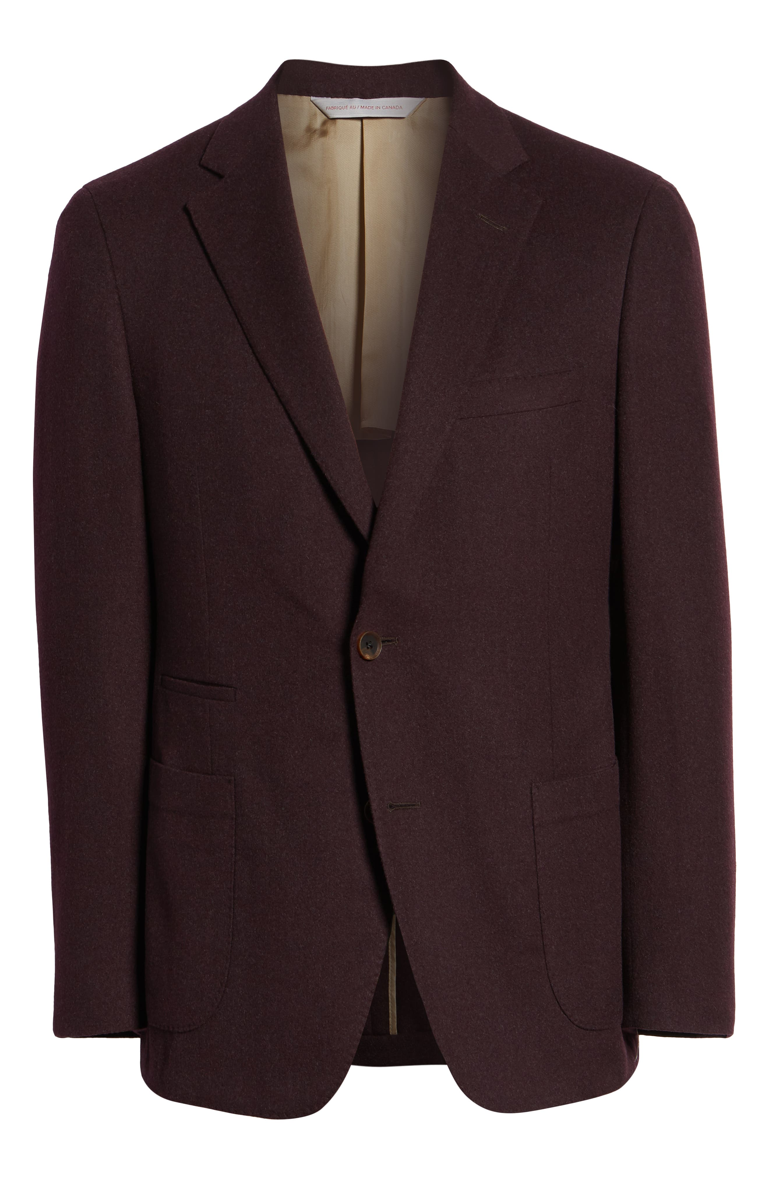 Classic Fit Wool Blazer,                             Alternate thumbnail 5, color,                             BURGUNDY