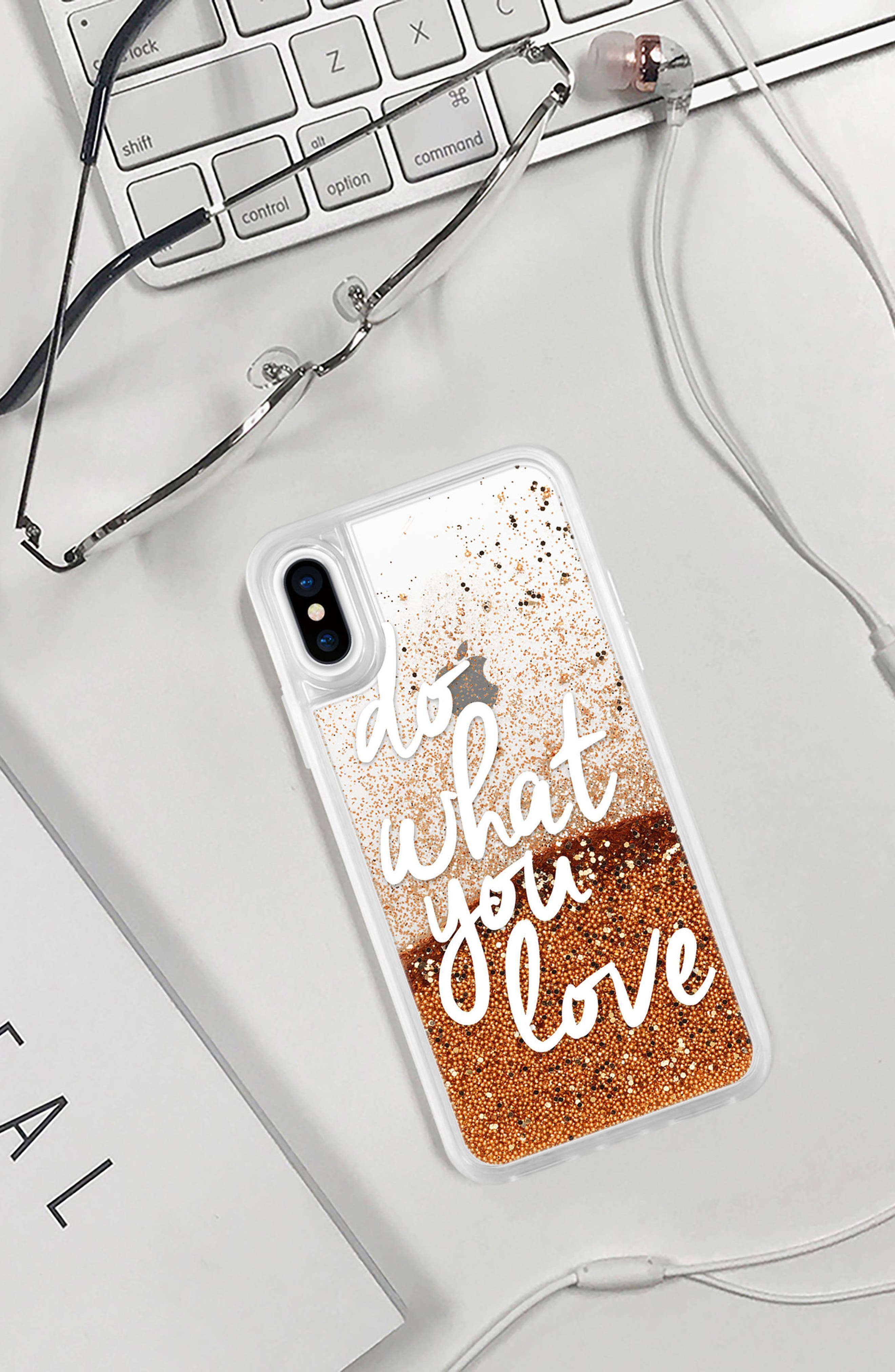 Do What You Love iPhone X/Xs Case,                             Alternate thumbnail 6, color,                             WHITE AND GOLD
