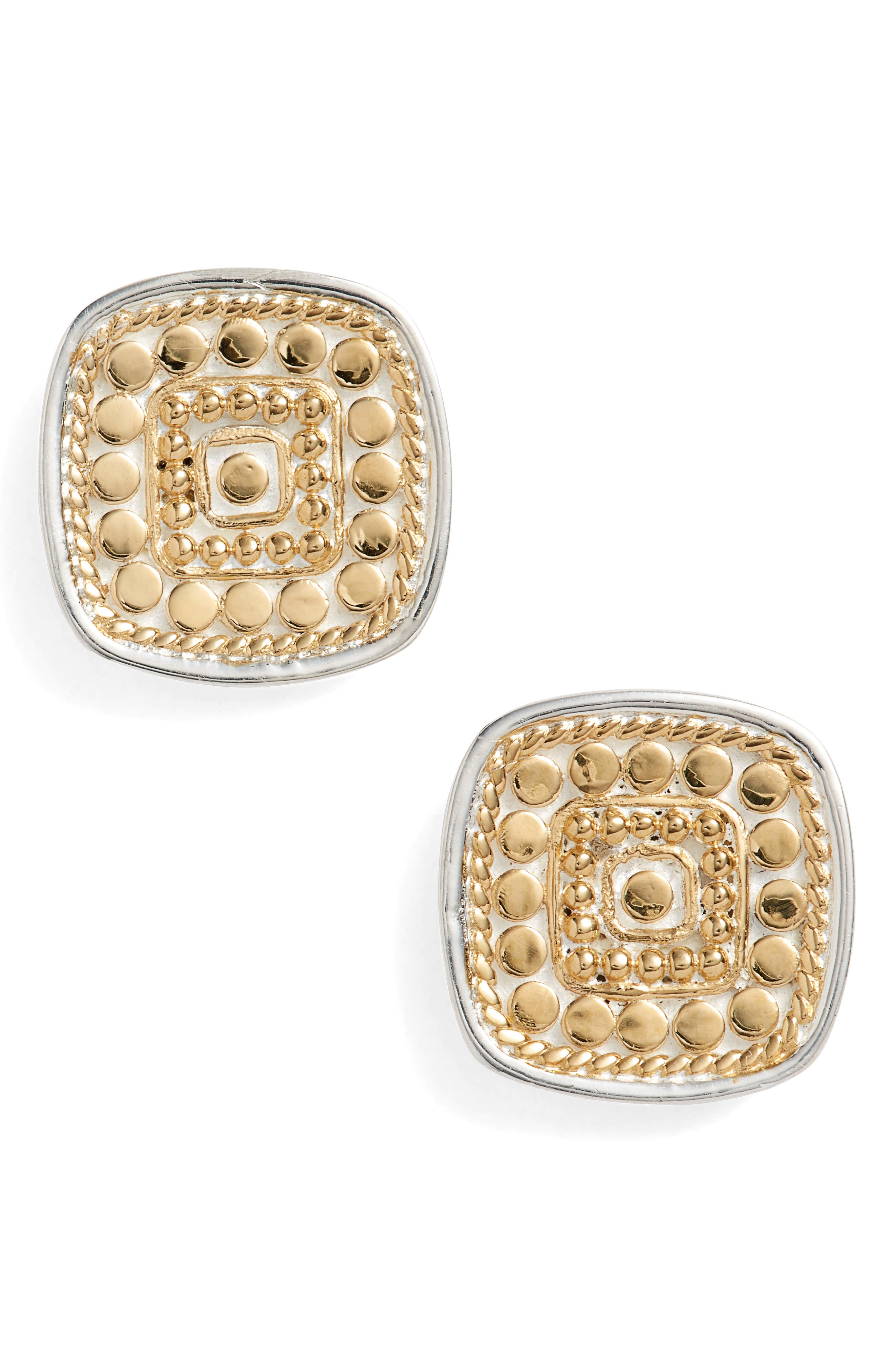 ANNA BECK Cushion Stud Earrings in Gold/ Silver