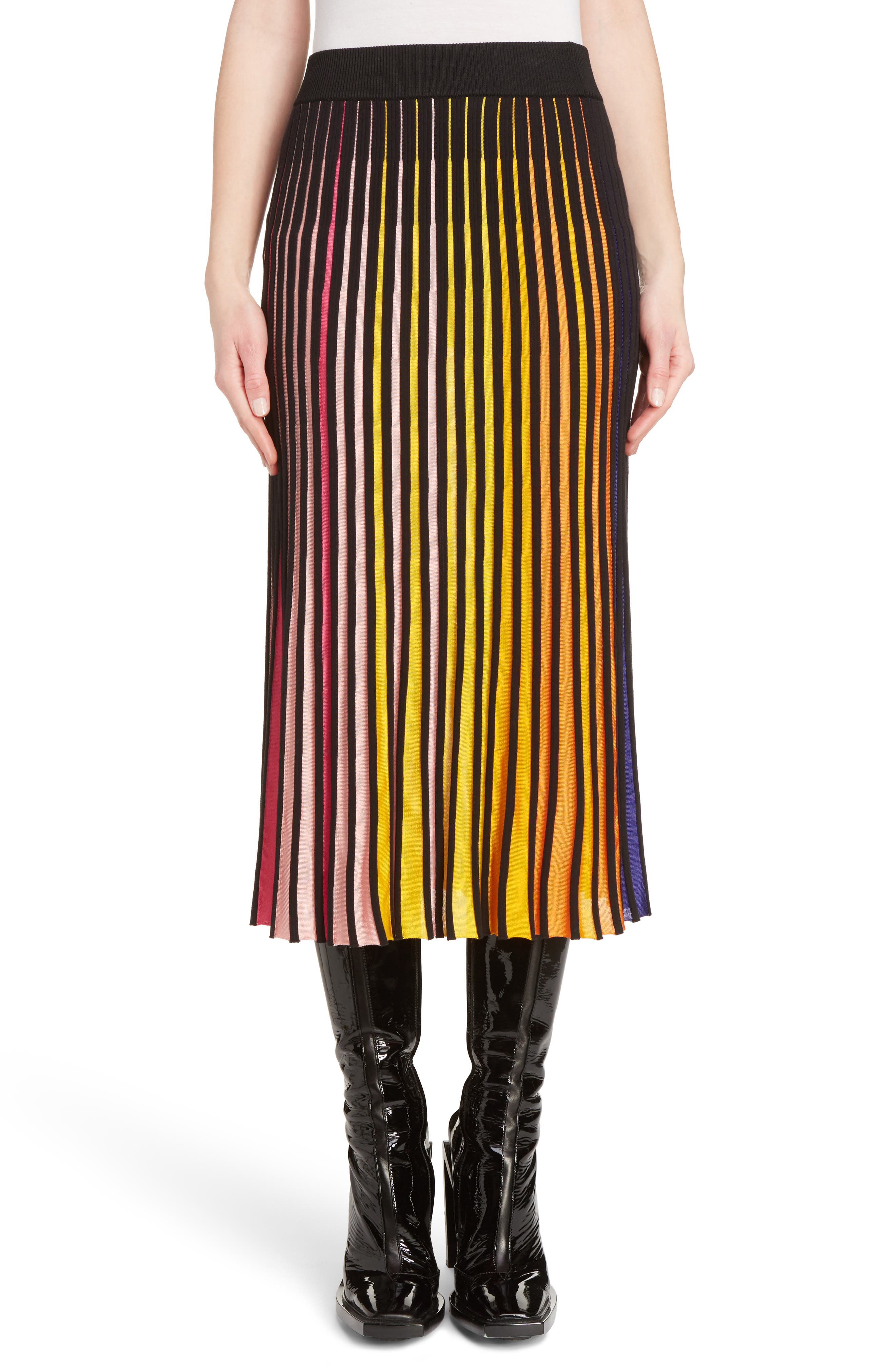 Rib Knit Flare Skirt,                             Main thumbnail 1, color,                             660