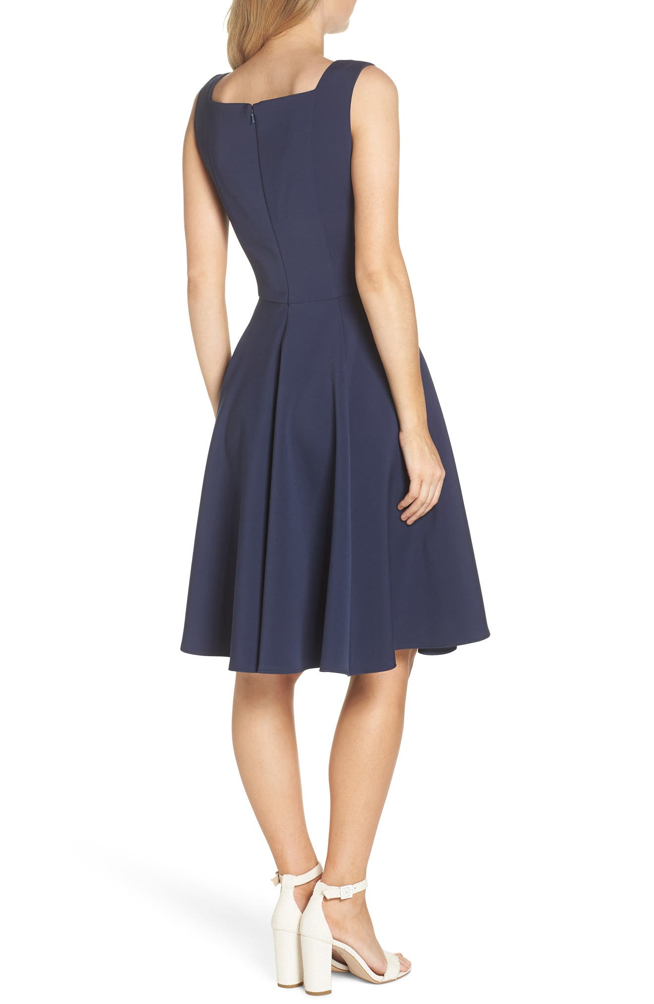 Zoe Bow Neckline Fit & Flare Dress,                             Alternate thumbnail 2, color,                             MIDNIGHT BLUE