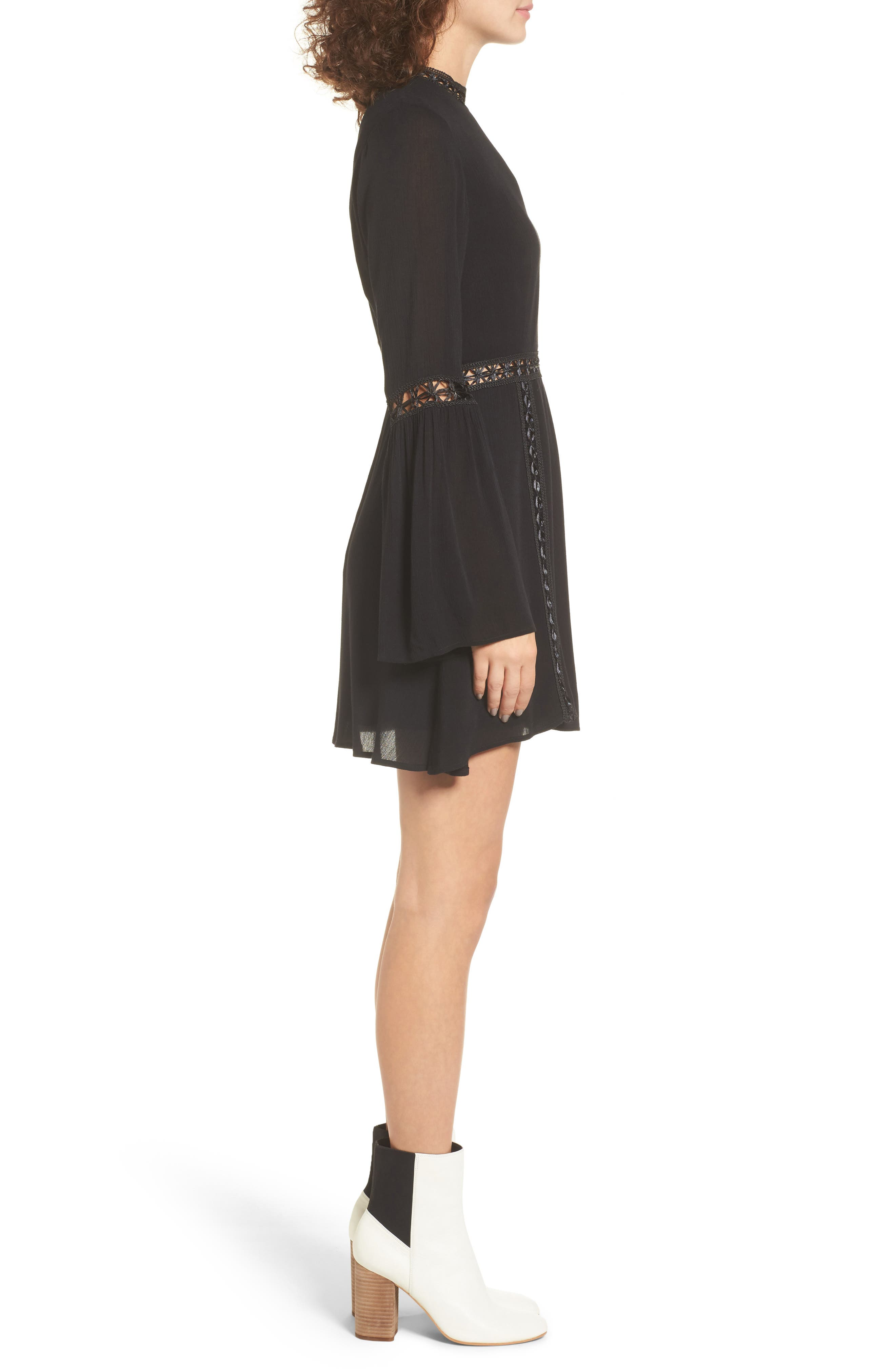 Indie May Bell Sleeve Minidress,                             Alternate thumbnail 3, color,