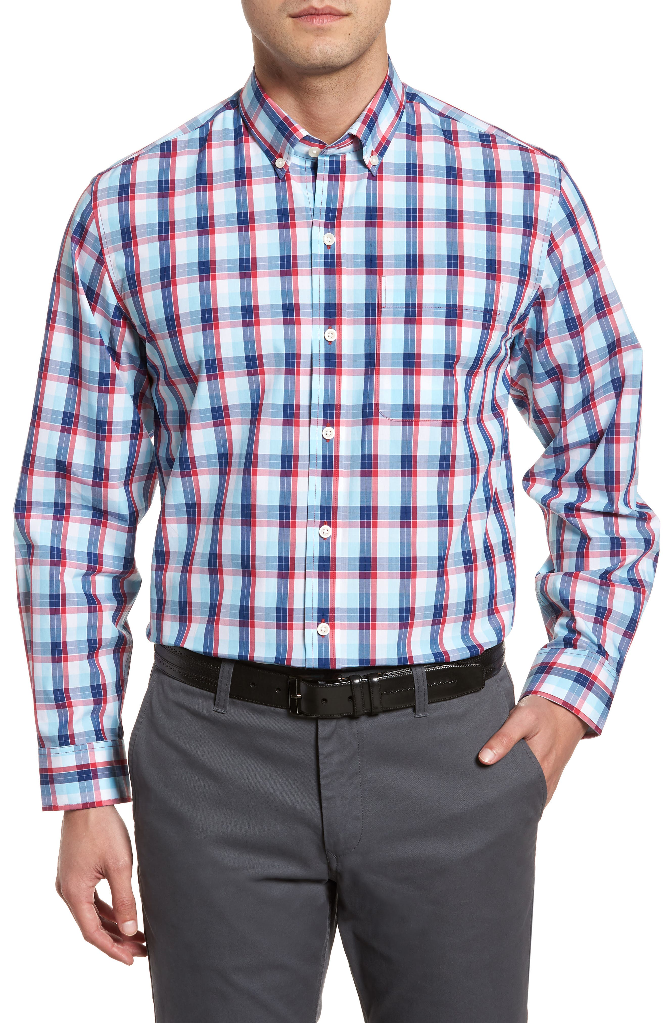 Zachary Non-Iron Plaid Sport Shirt,                             Main thumbnail 1, color,                             479