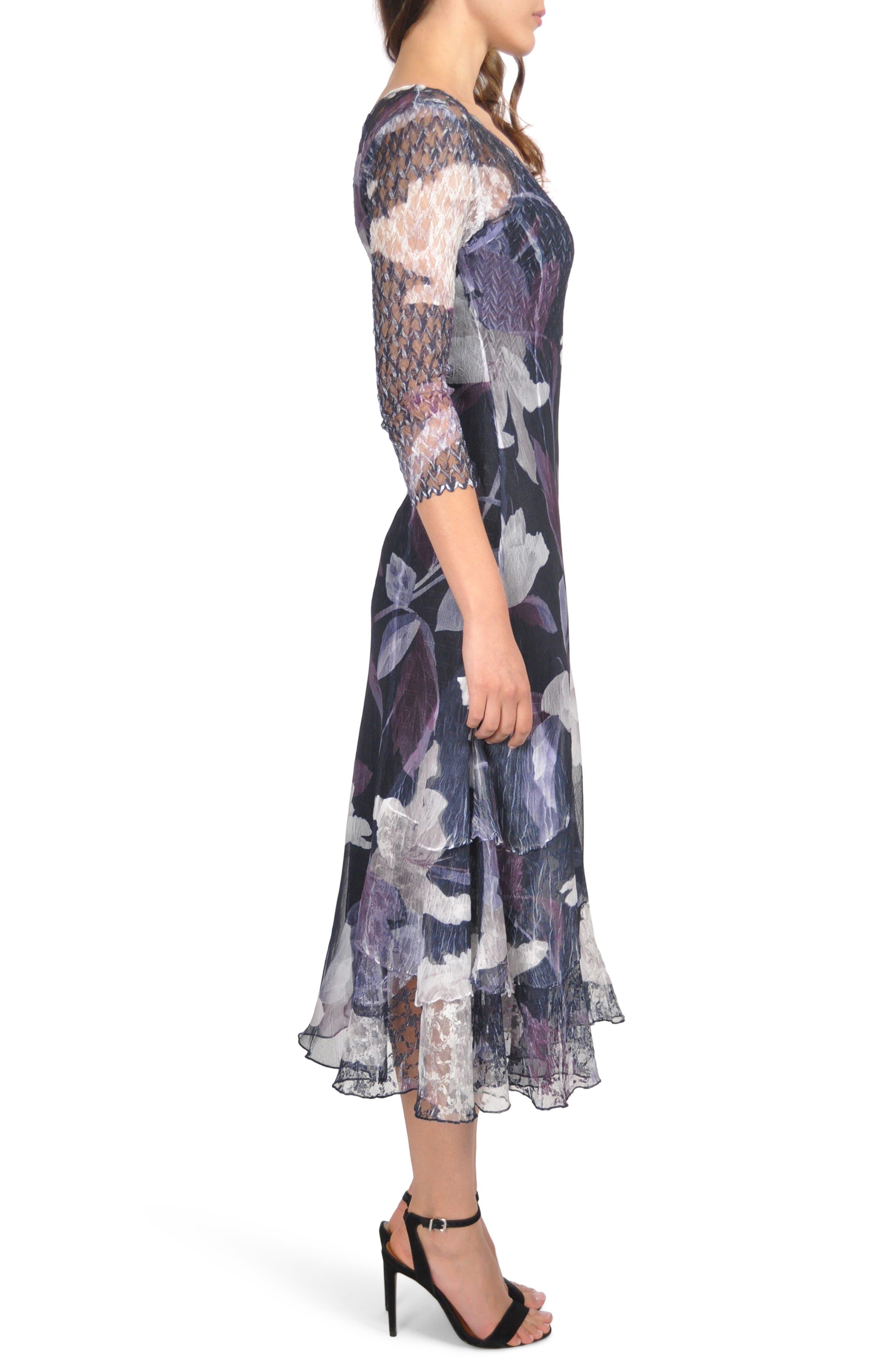 Floral Tiered Hem Dress,                             Alternate thumbnail 3, color,                             VIOLET VINE