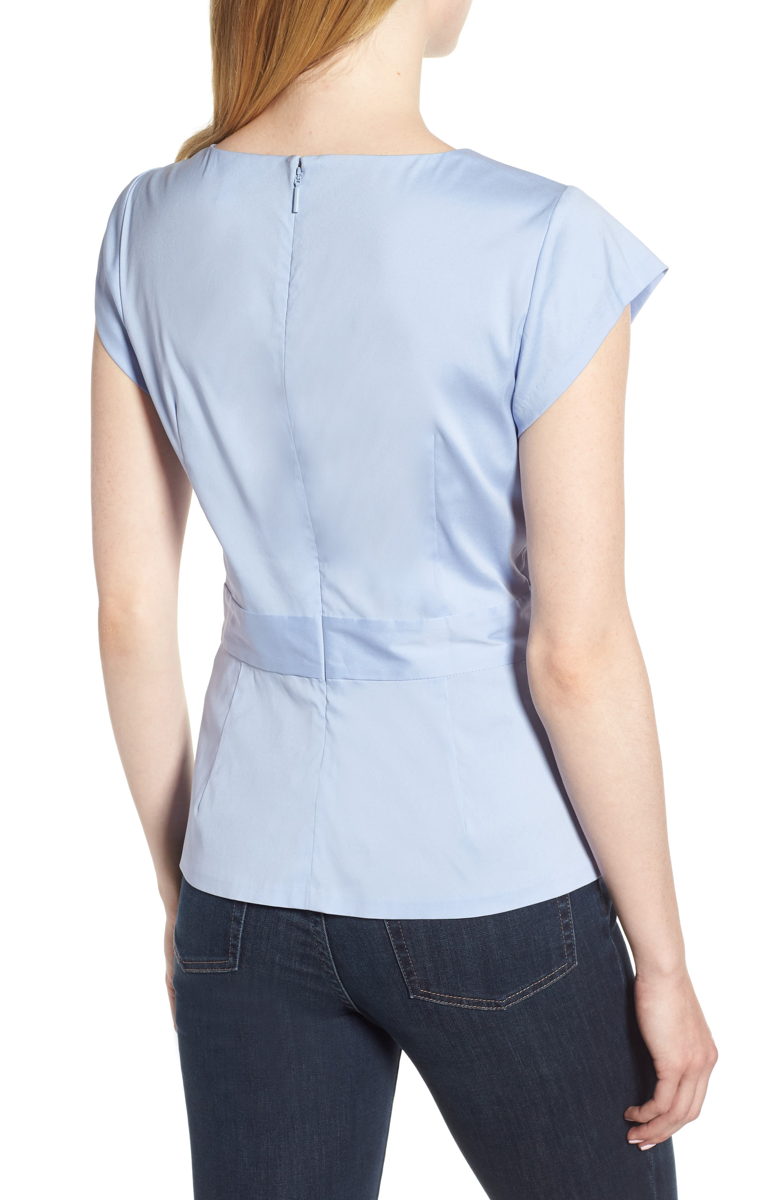 Knot Front Cotton Blend Poplin Blouse,                             Alternate thumbnail 2, color,