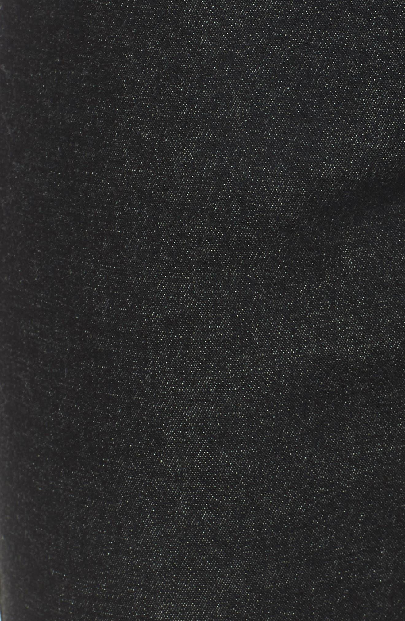 Ankle Zip Denim Leggings,                             Alternate thumbnail 6, color,                             BLACK