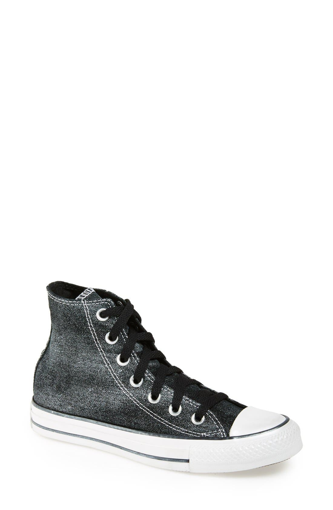 Chuck Taylor<sup>®</sup> All Star<sup>®</sup> 'Sparkle Wash' High Top Sneaker, Main, color, 001