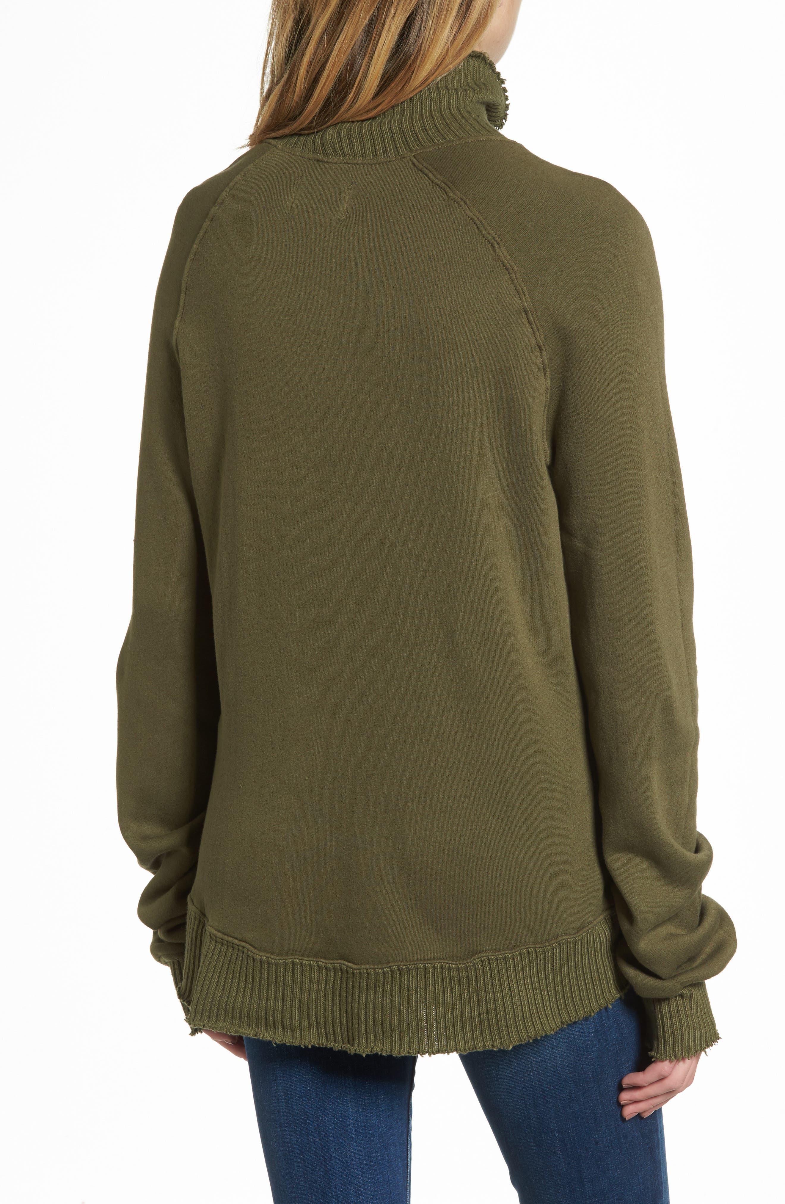 Distressed Fleece Turtleneck Sweatshirt,                             Alternate thumbnail 2, color,                             317