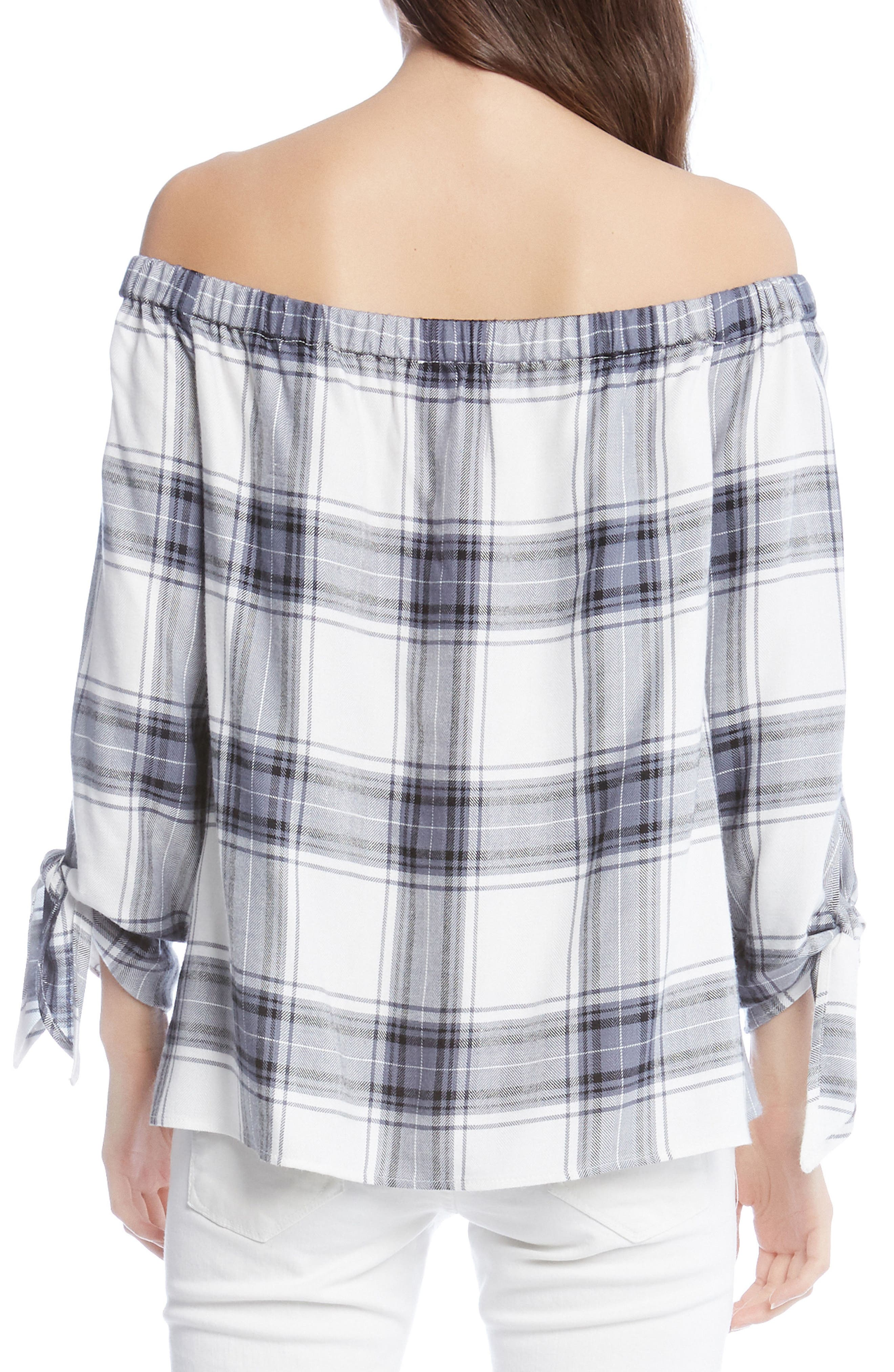 Off the Shoulder Plaid Top,                             Alternate thumbnail 2, color,                             100