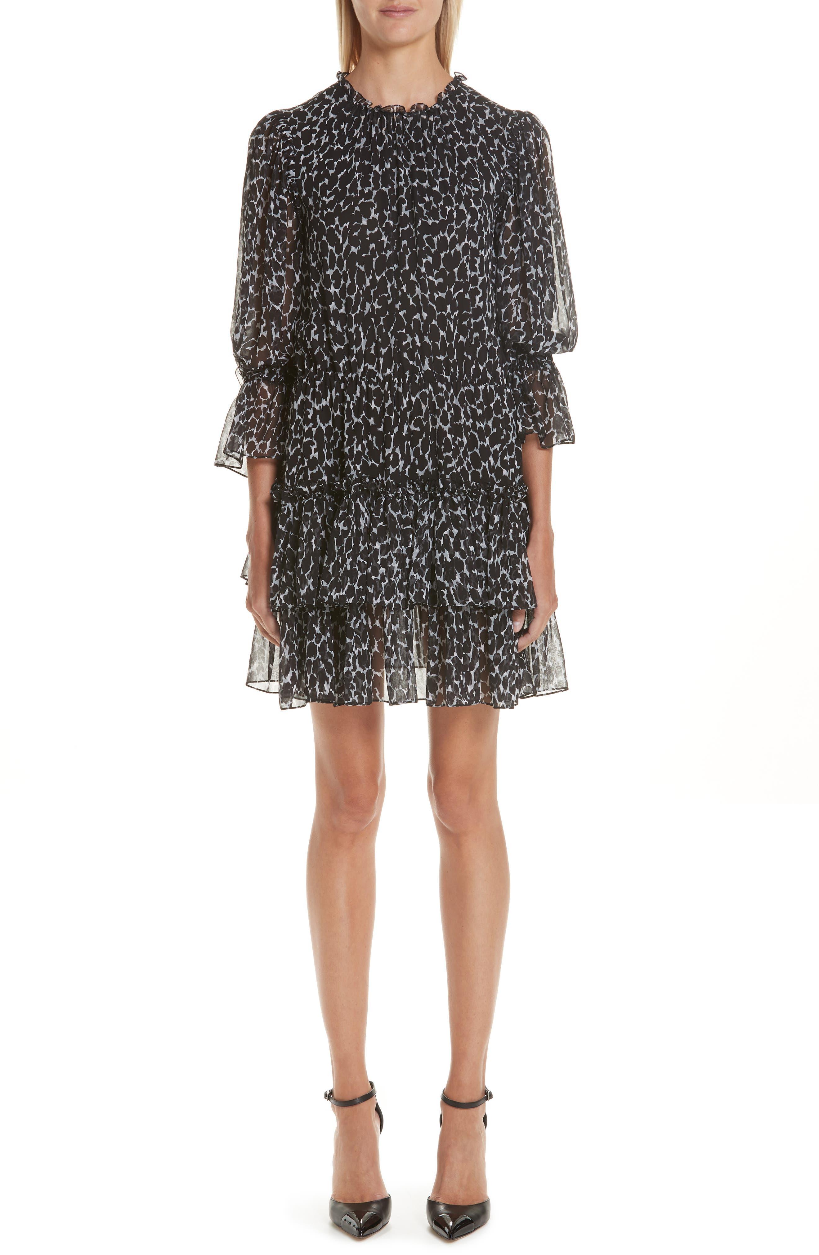 Michael Kors Cheetah Print Tiered Silk Chiffon Minidress, Black