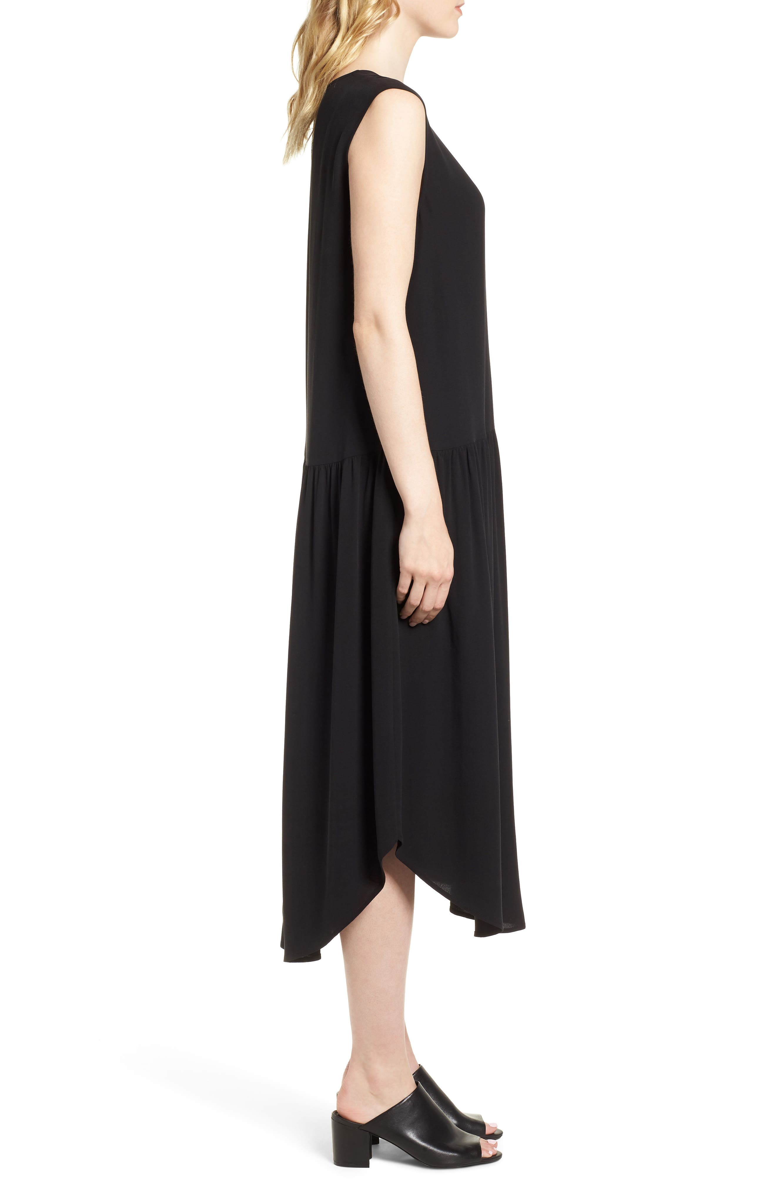 Drop Waist Silk Midi Dress,                             Alternate thumbnail 3, color,                             001