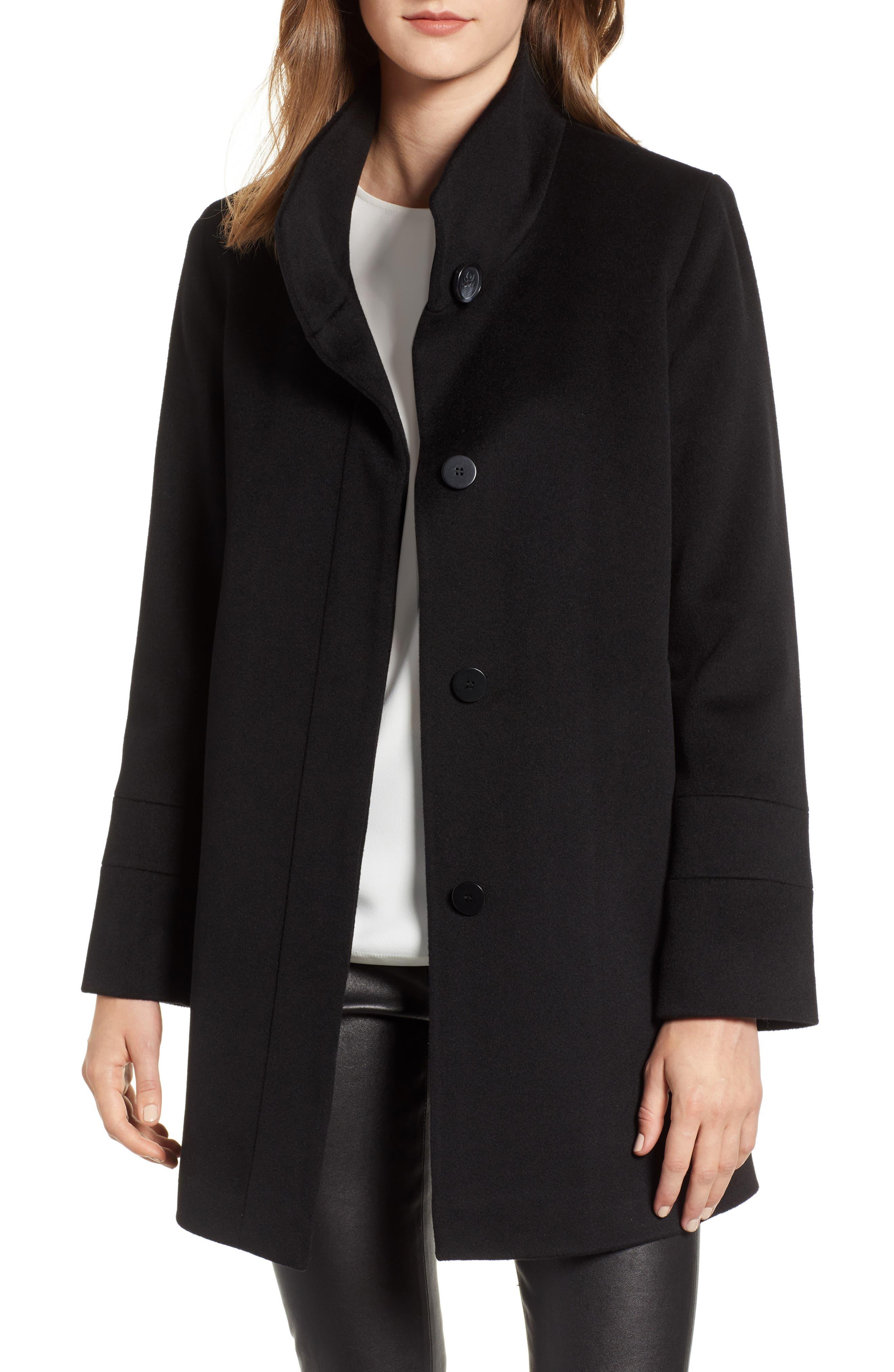 Placket Front Wool Car Coat,                         Main,                         color, BLACK