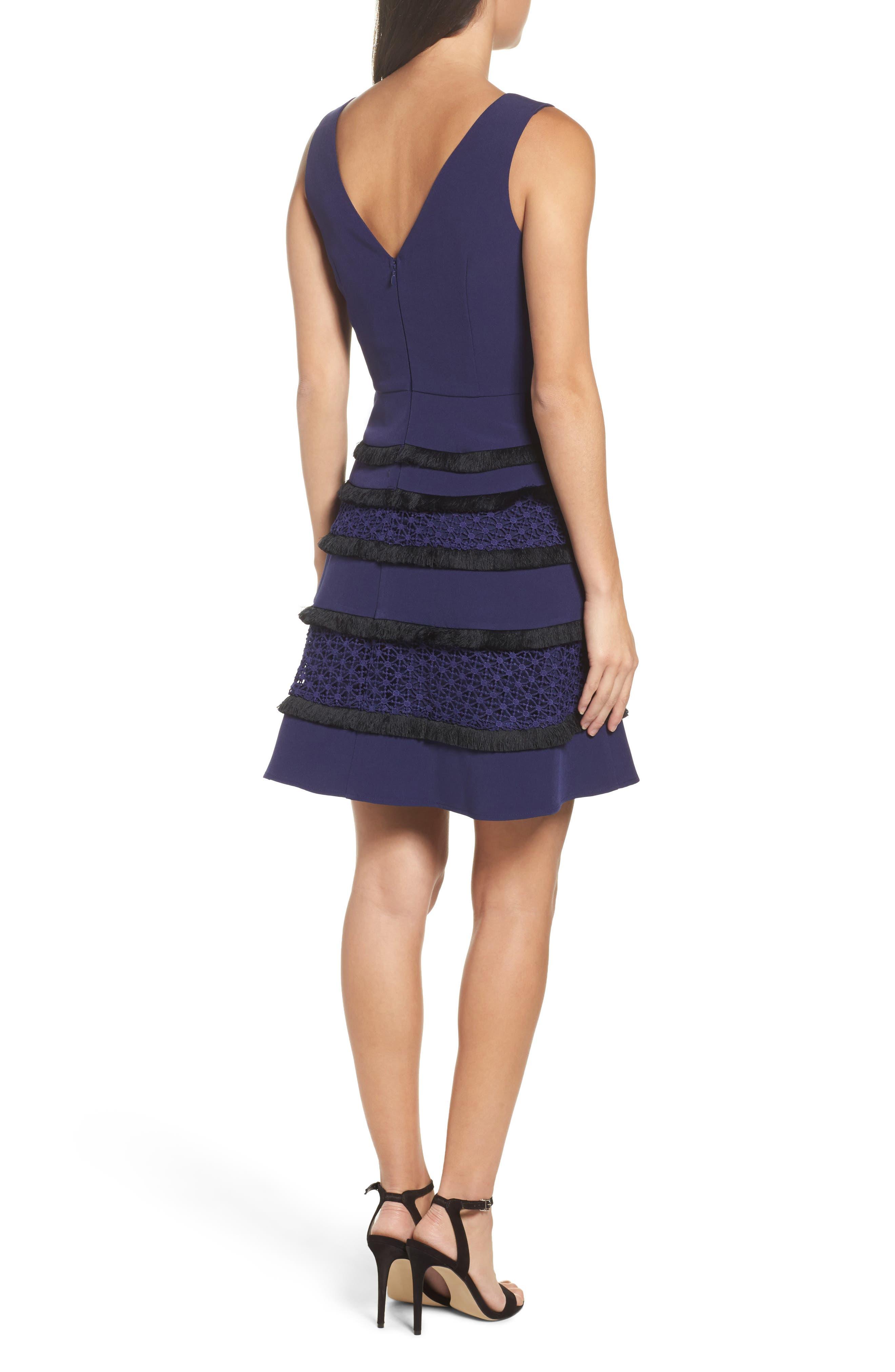 Stripe Fit & Flare Dress,                             Alternate thumbnail 2, color,                             410