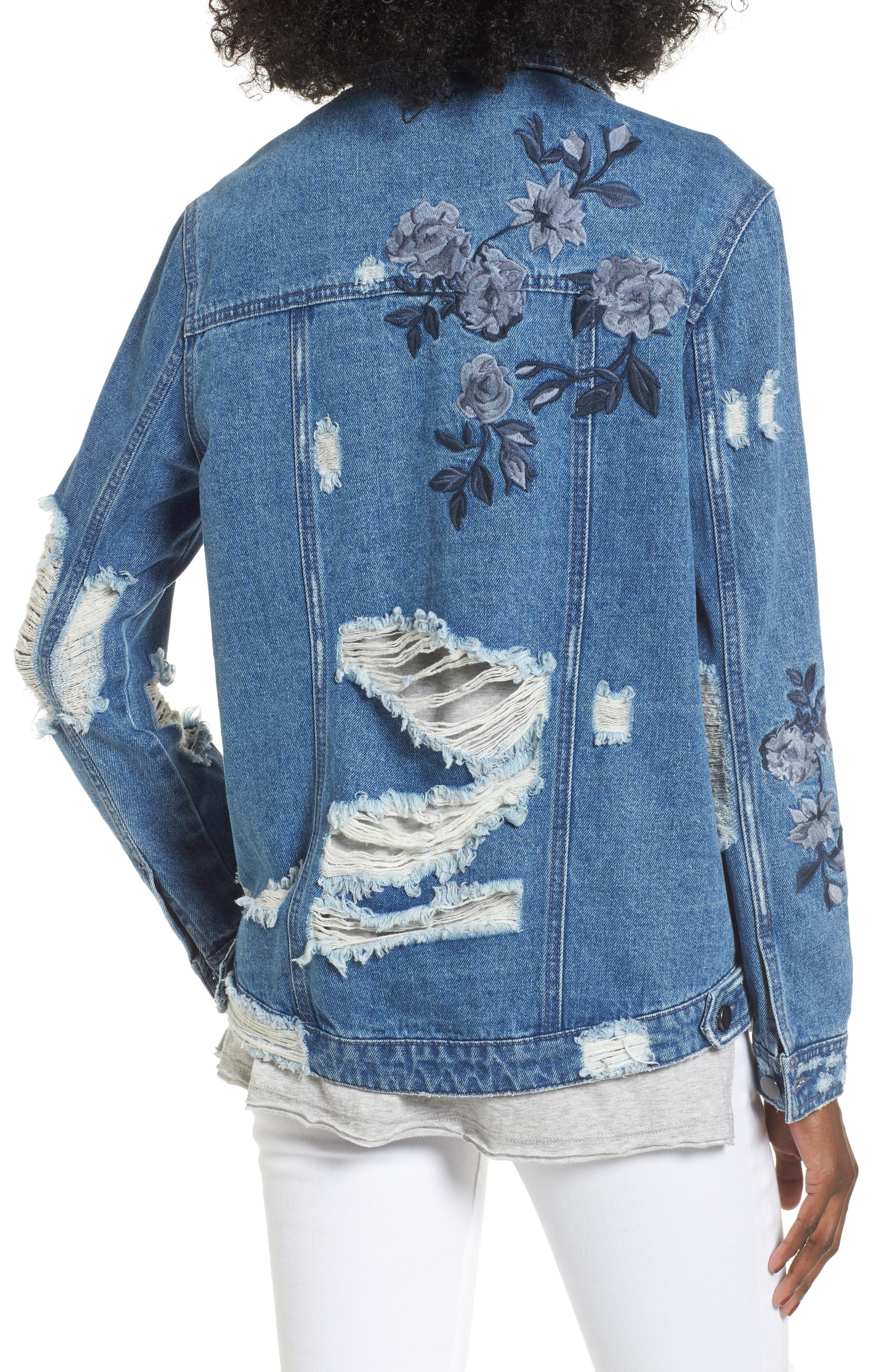 Floral Embroidered Ripped Denim Jacket,                             Alternate thumbnail 2, color,                             422