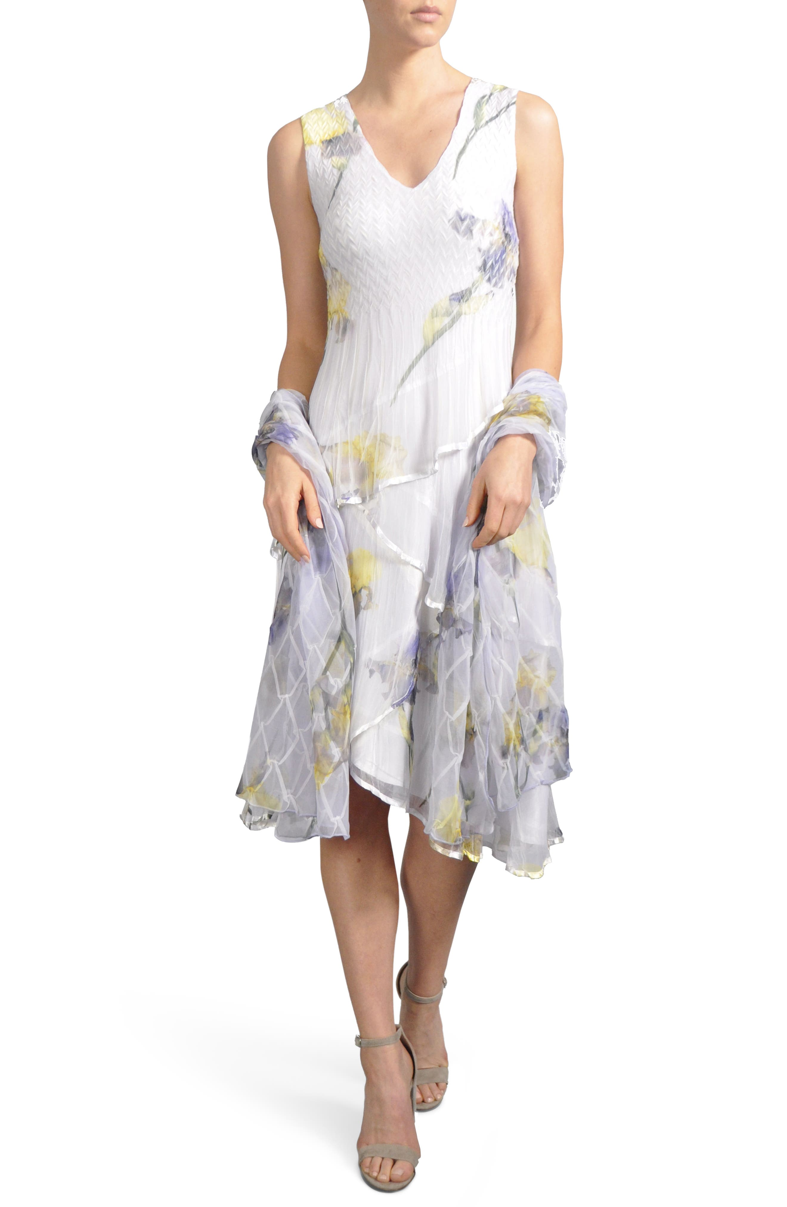 Tiered Chiffon Dress with Wrap,                             Main thumbnail 1, color,                             479