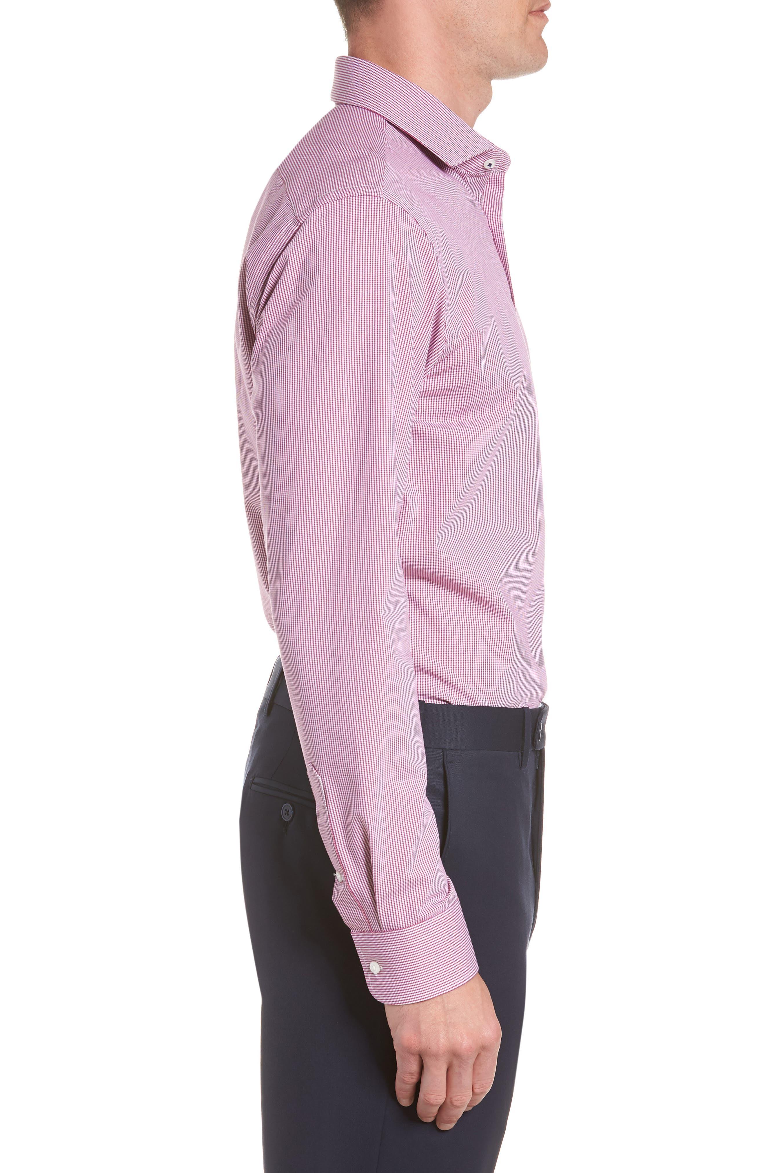 Tech-Smart Trim Fit Houndstooth Dress Shirt,                             Alternate thumbnail 8, color,