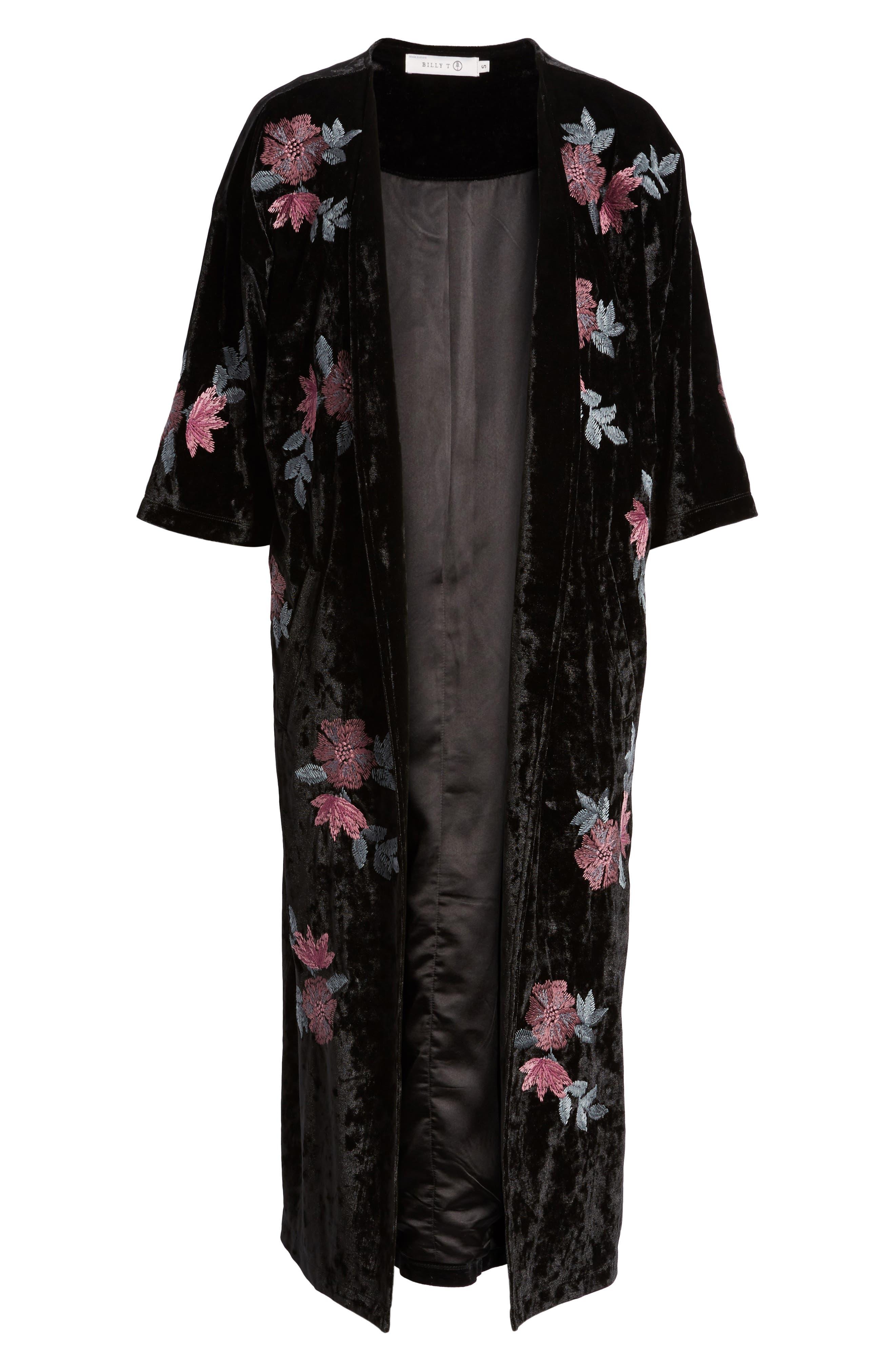 Floral Velvet Long Jacket,                             Alternate thumbnail 5, color,                             001