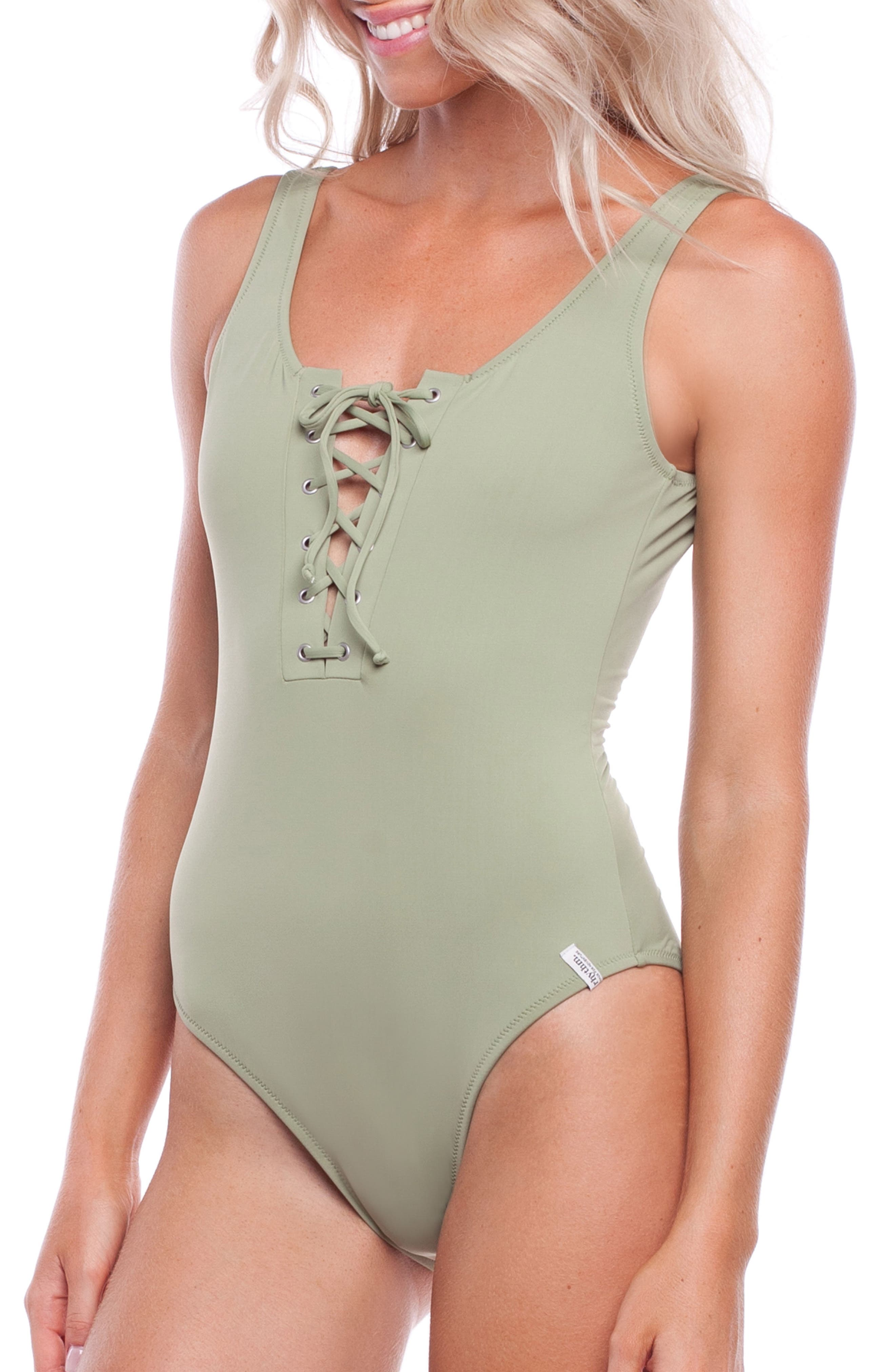Sunchaser One-Piece Swimsuit,                             Alternate thumbnail 3, color,                             PALM