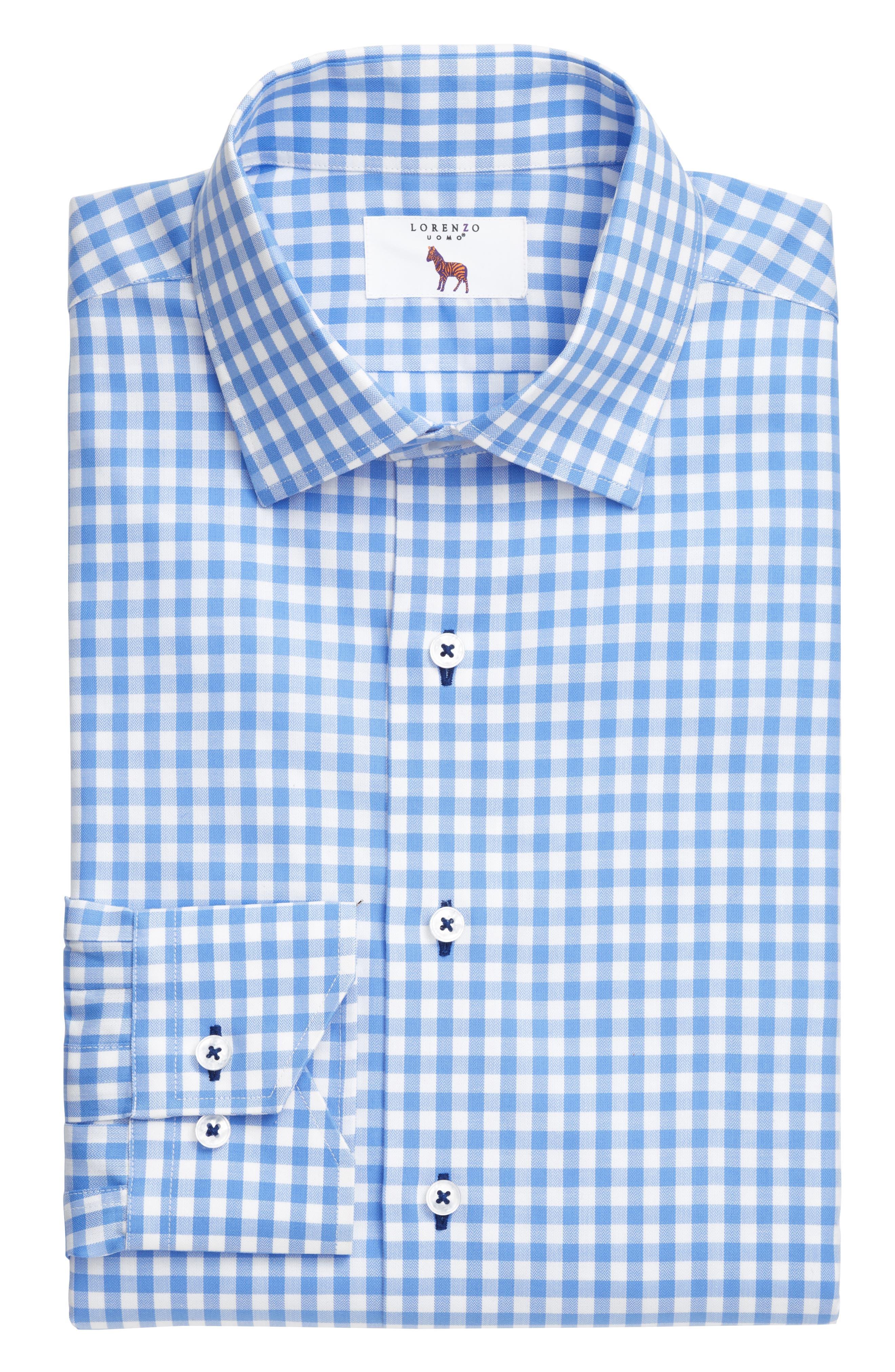 Trim Fit Gingham Dress Shirt,                             Alternate thumbnail 3, color,                             LIGHT BLUE