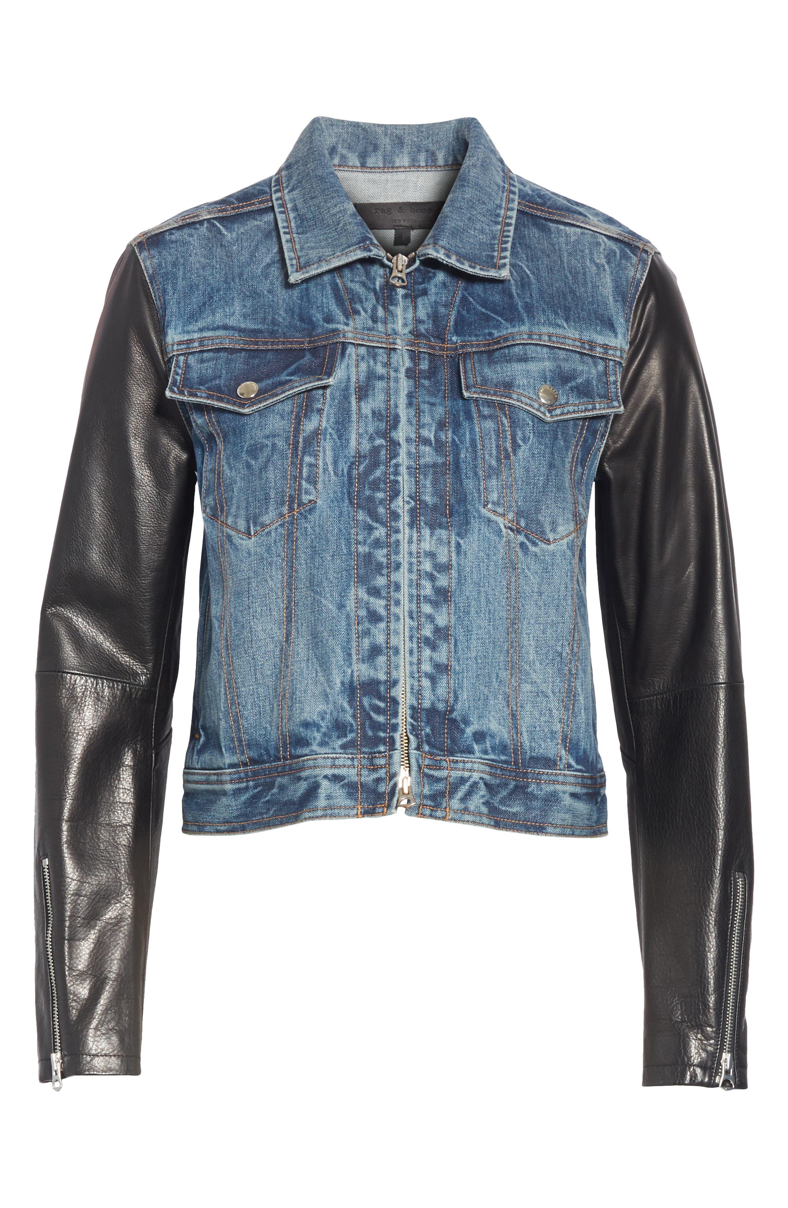 Zip Nico Denim & Leather Jacket,                             Alternate thumbnail 5, color,                             INDIGO