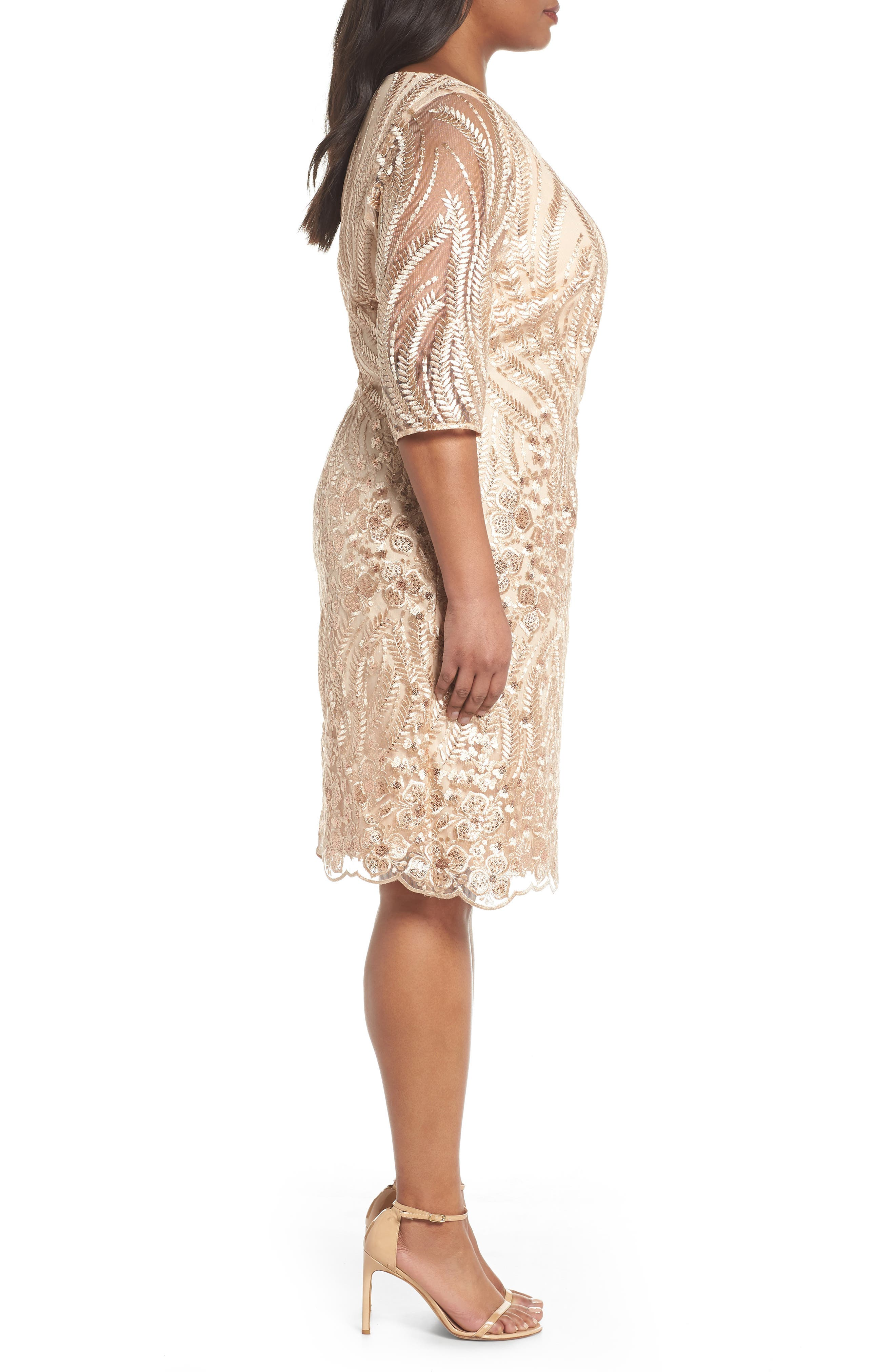 Sequin Embroidered Lace Sheath Dress,                             Alternate thumbnail 3, color,                             CHAMPAGNE