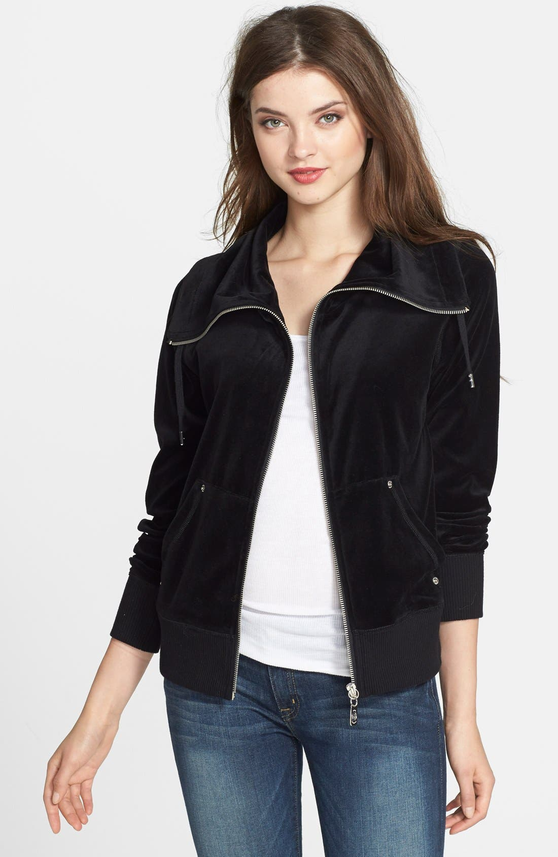 Front Zip Velour Jacket,                             Main thumbnail 1, color,                             002