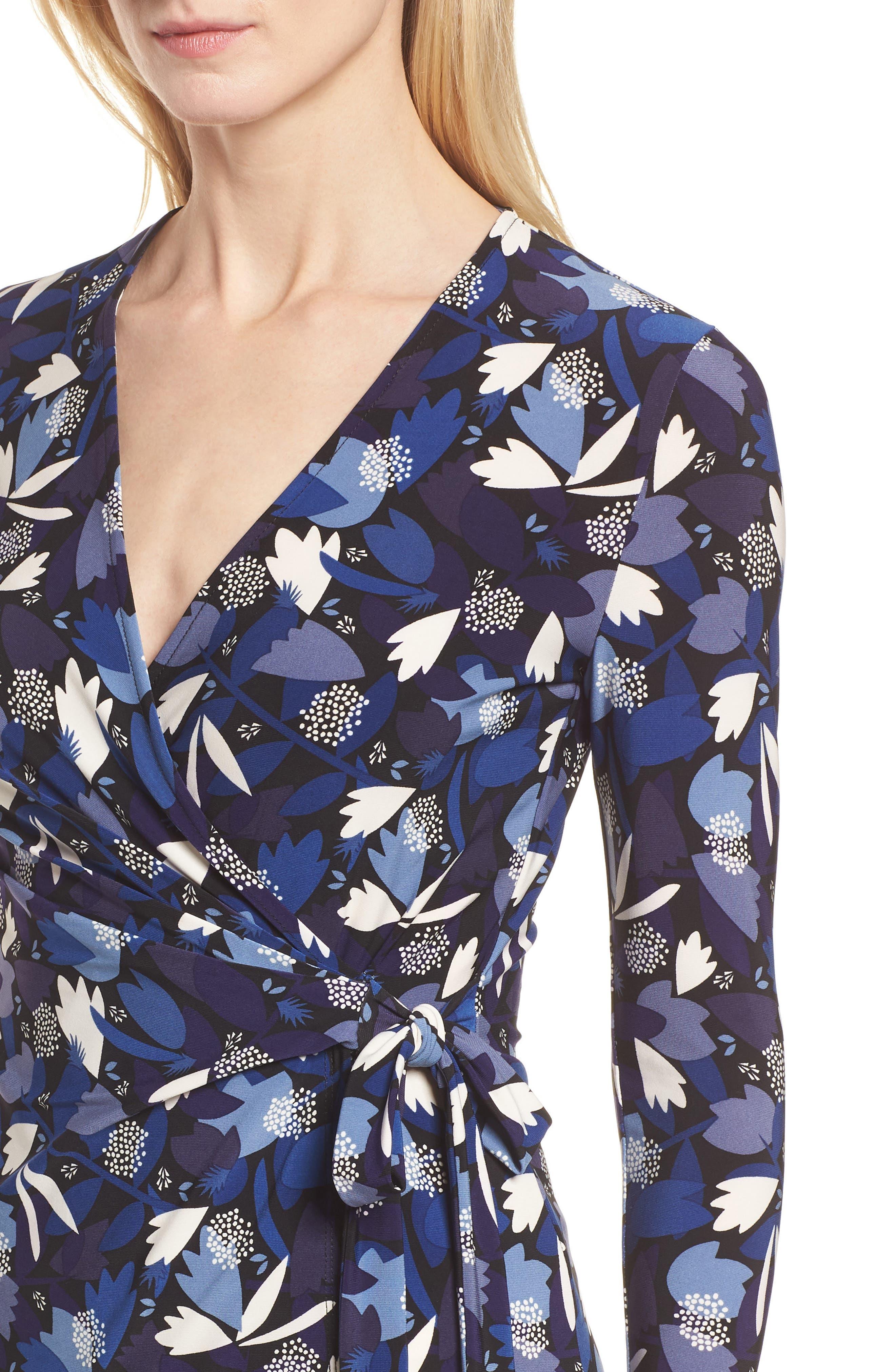 Amalfi Print Faux Wrap Top,                             Alternate thumbnail 4, color,                             410