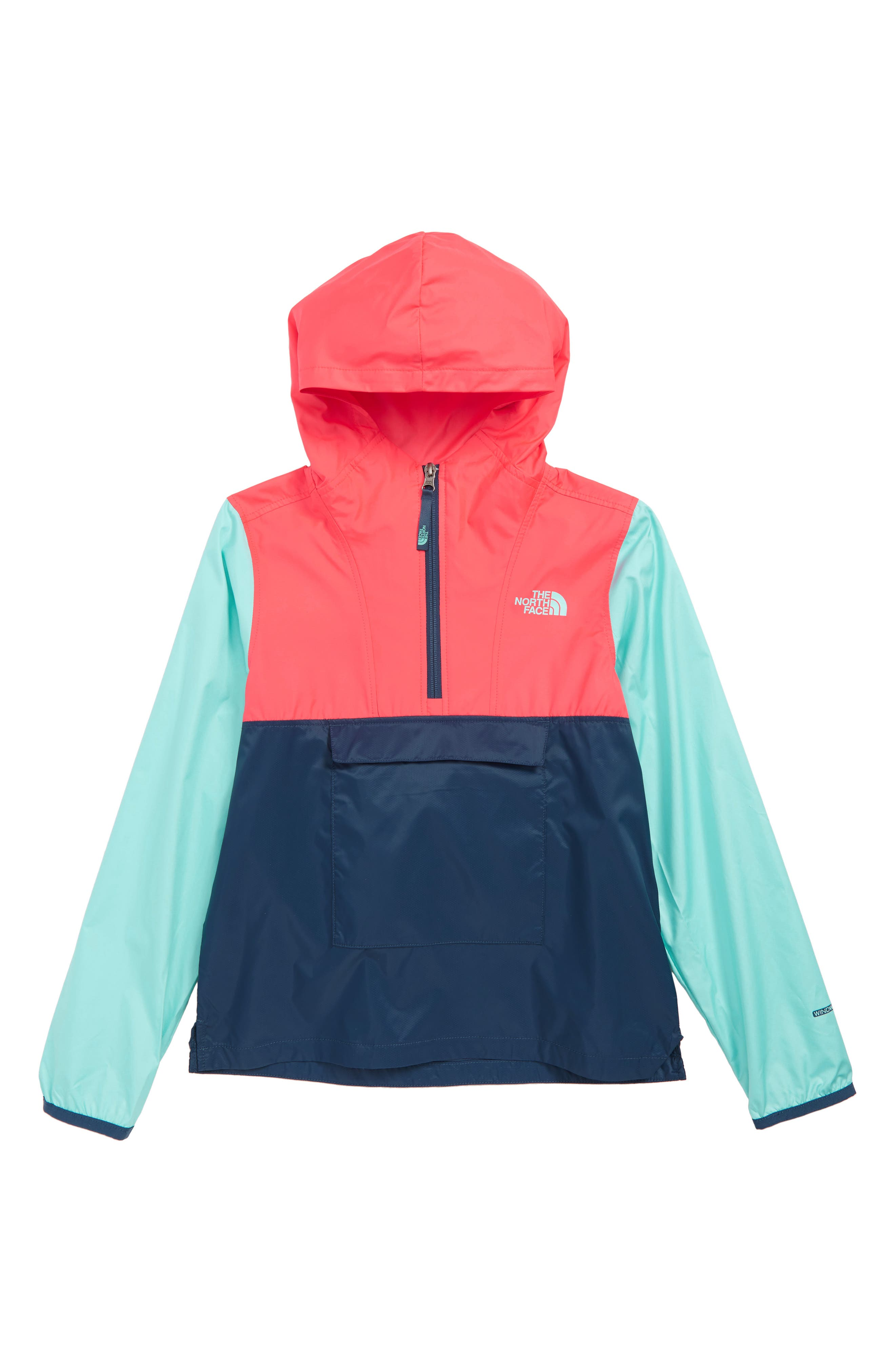 THE NORTH FACE,                             Wind & Water Resistant Hooded Fanorak,                             Main thumbnail 1, color,                             BLUE WING TEAL