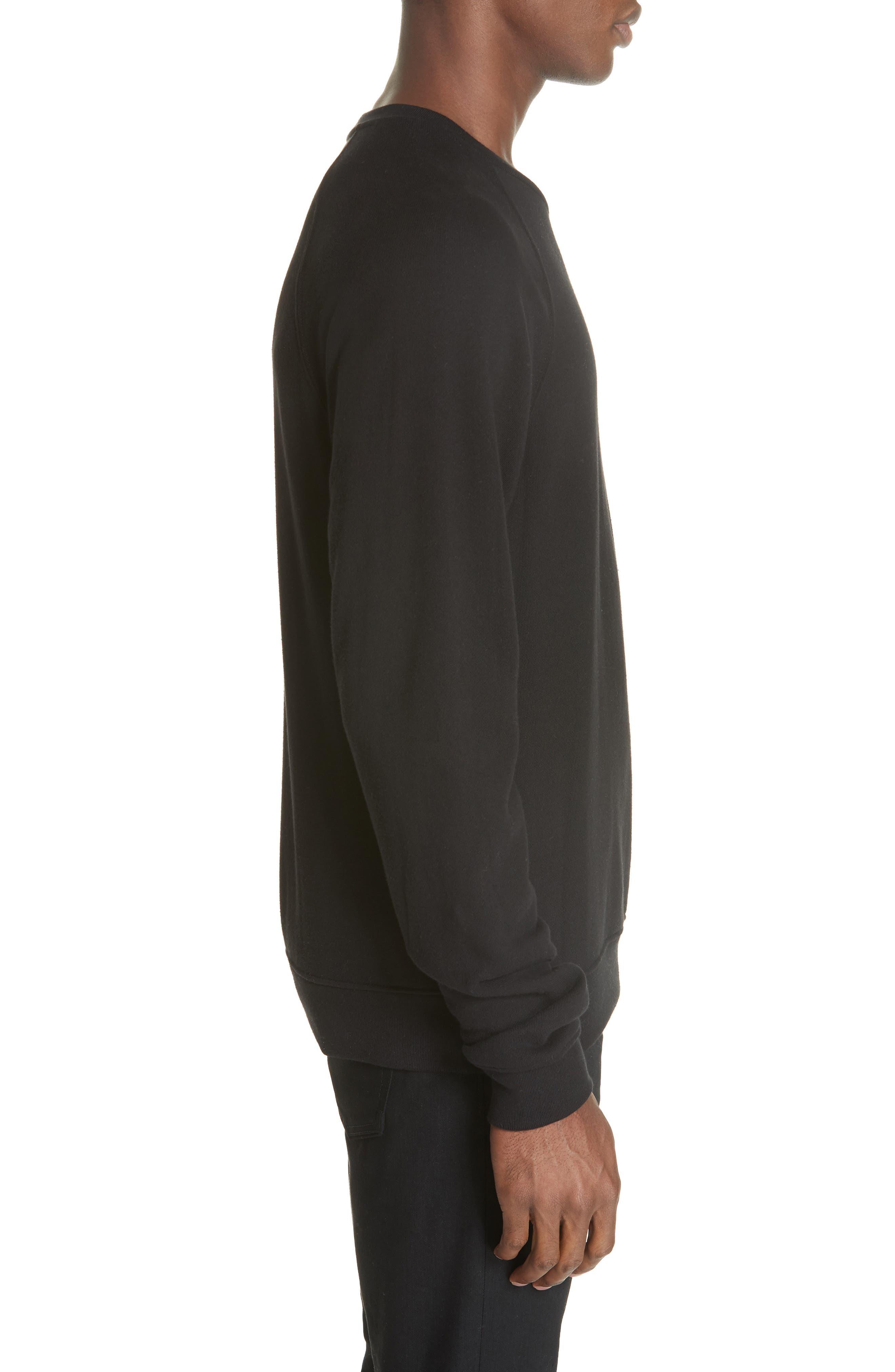 Raglan Crewneck Sweatshirt,                             Alternate thumbnail 3, color,                             BLACK