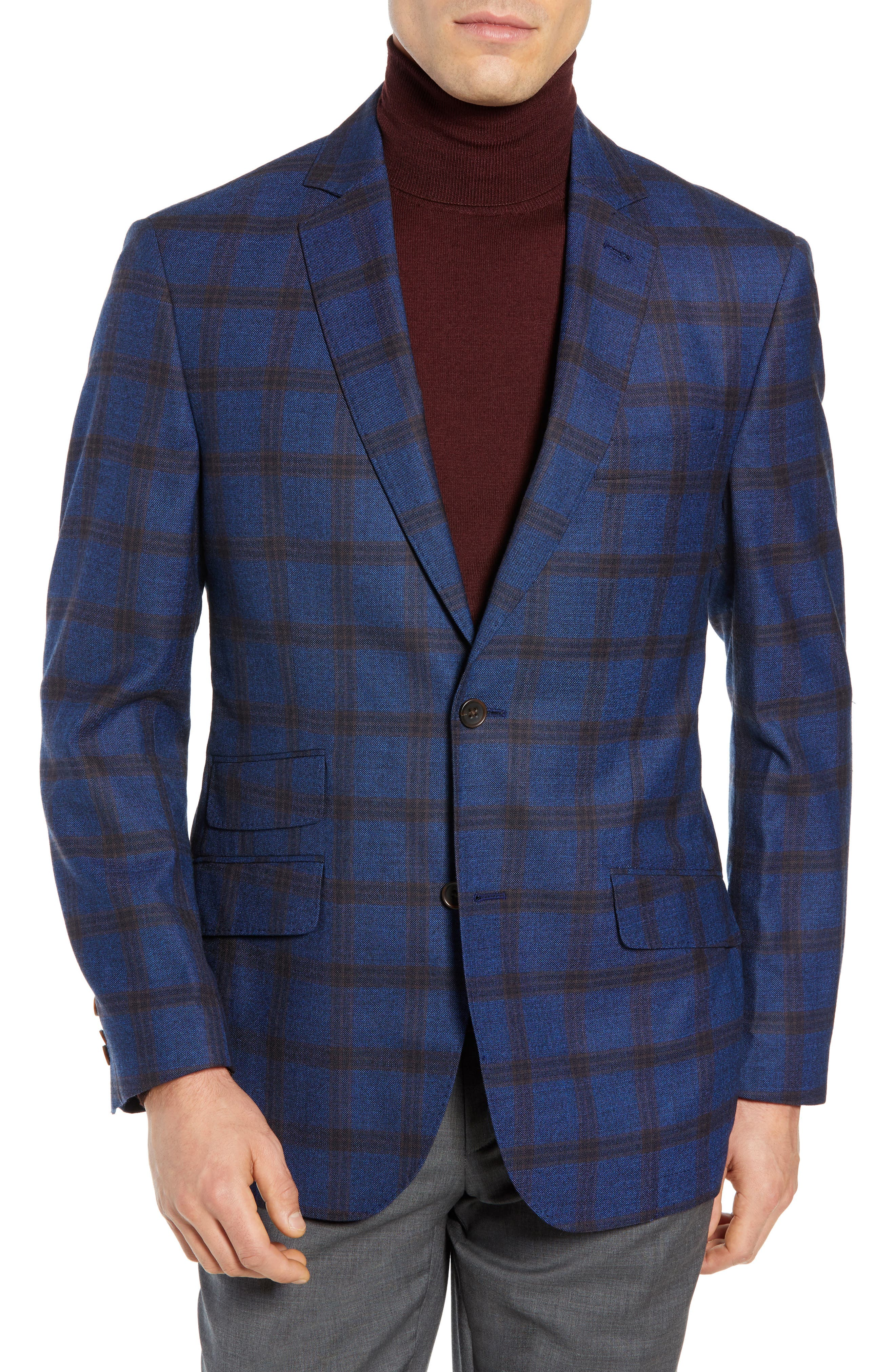 Regular Fit Windowpane Wool Sport Coat,                             Main thumbnail 1, color,                             BLUE