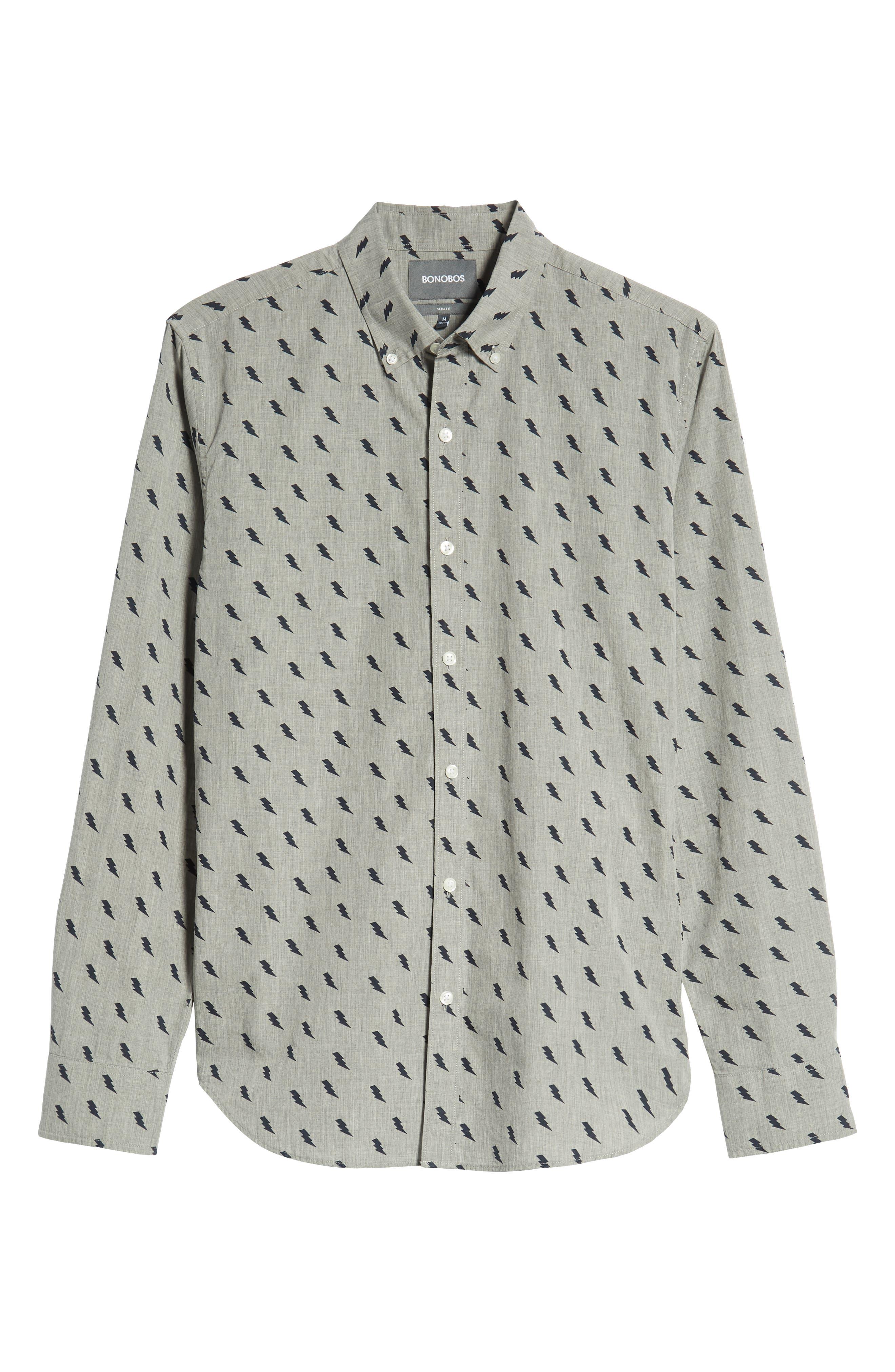 Washed Button Down Slim Fit Lightning Print Sport Shirt,                             Alternate thumbnail 5, color,                             ZAP - MEDIUM GREY HEATHER