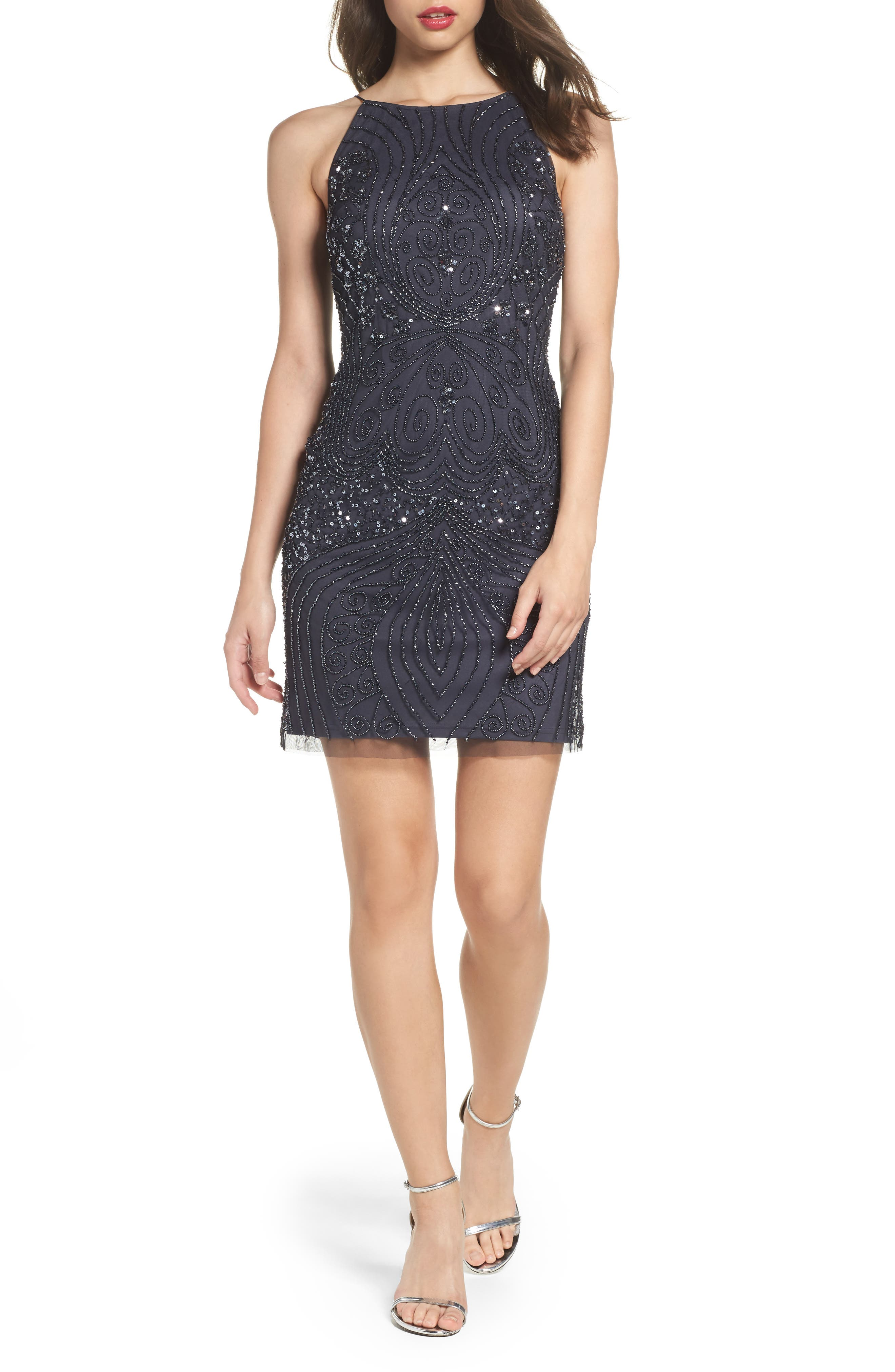 Beaded Sheath Dress,                             Main thumbnail 1, color,                             088