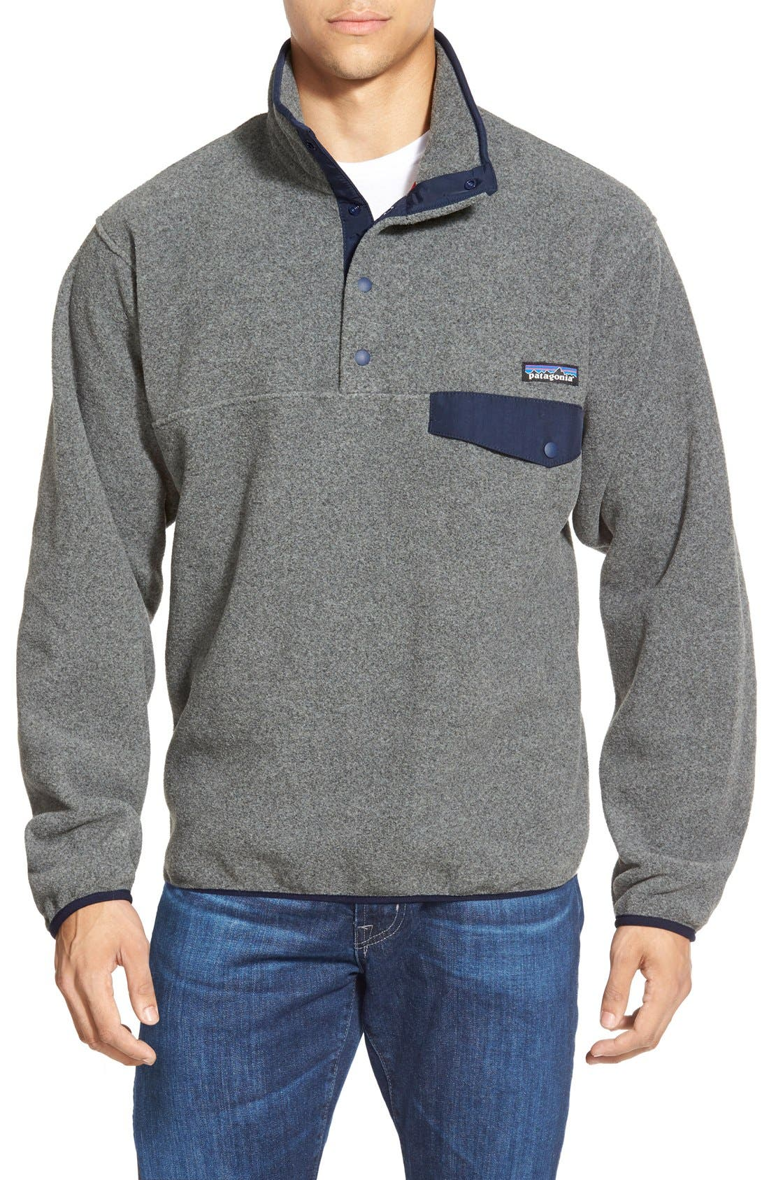 Synchilla<sup>®</sup> Snap-T<sup>®</sup> Fleece Pullover,                         Main,                         color, NICKEL/ NAVY BLUE