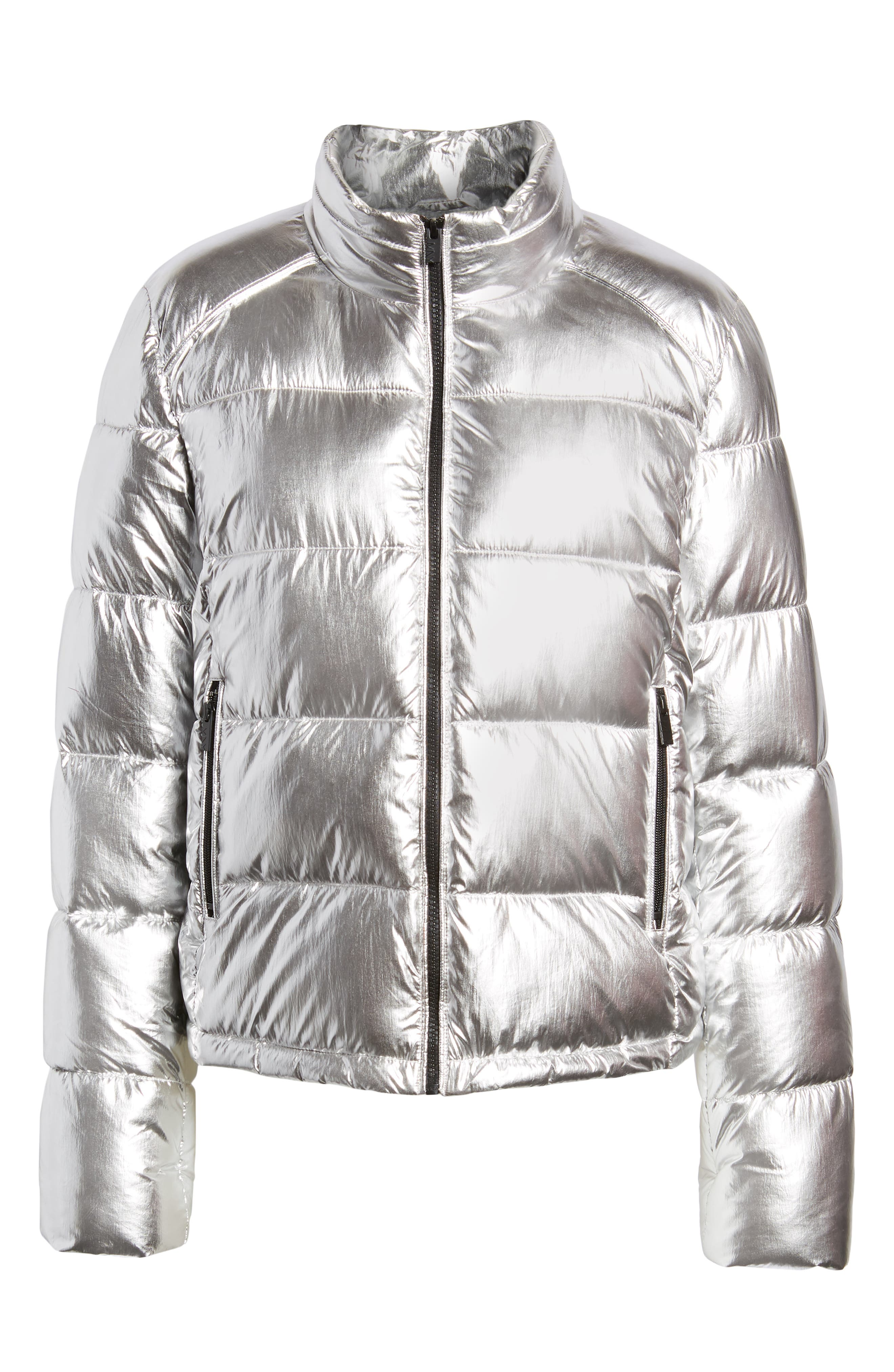 Metallic Puffer Jacket, Alternate, color, SILVER