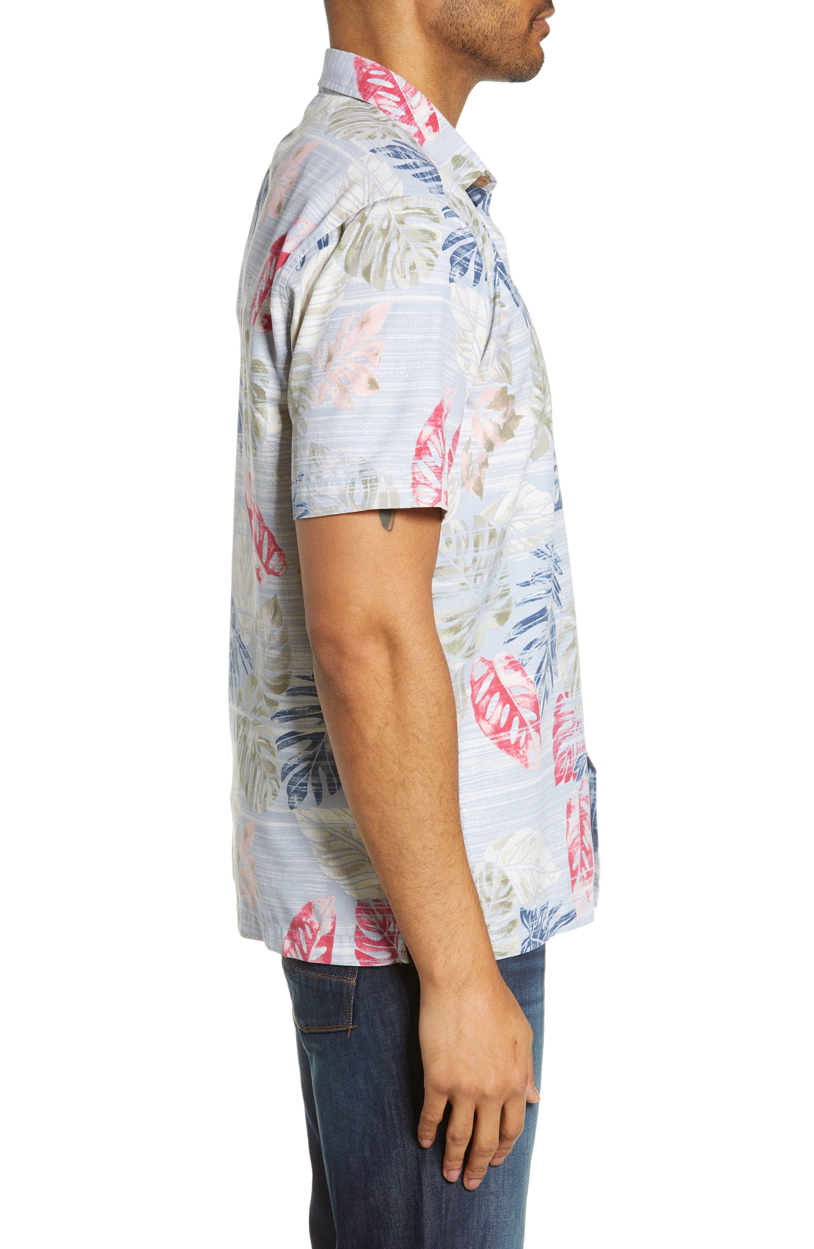 TOMMY BAHAMA,                             Botanica Sketch Silk Blend Shirt,                             Alternate thumbnail 4, color,                             CANYON SKY